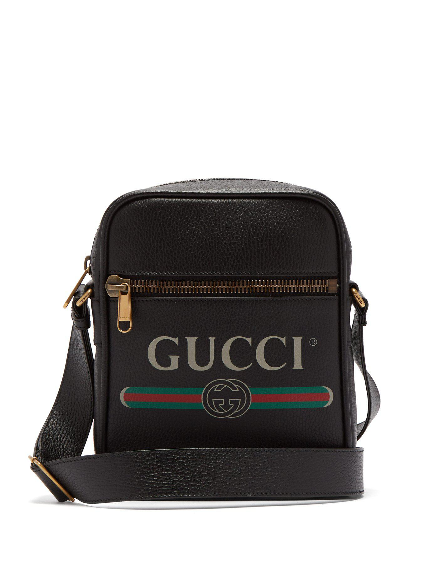 41e49ae0a89 Gucci - Black Logo Print Grained Leather Camera Bag for Men - Lyst. View  fullscreen