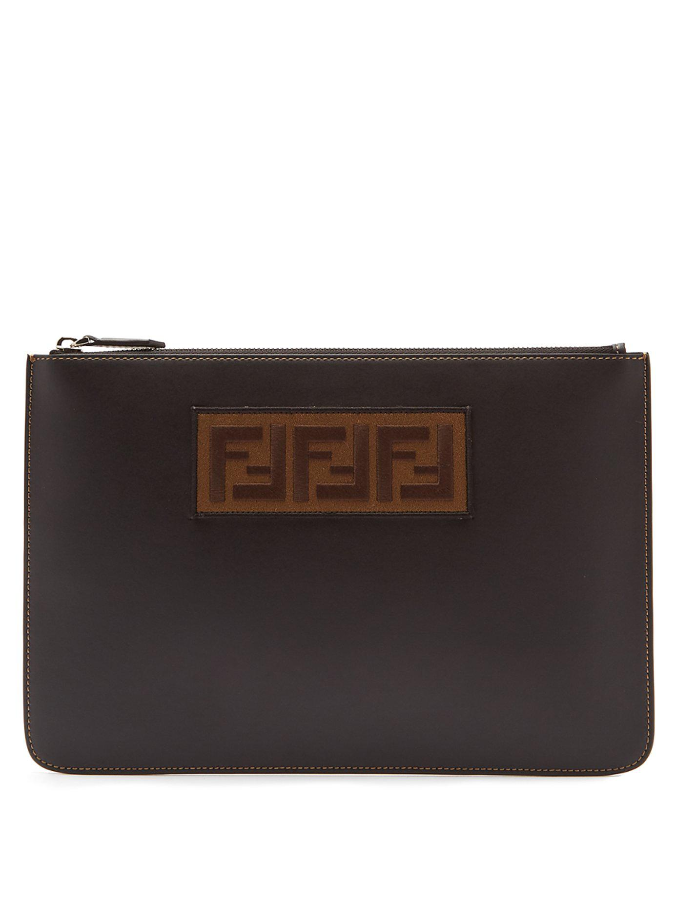 Lyst - Fendi Logo Patch Leather Pouch in Black for Men 17210d083e748