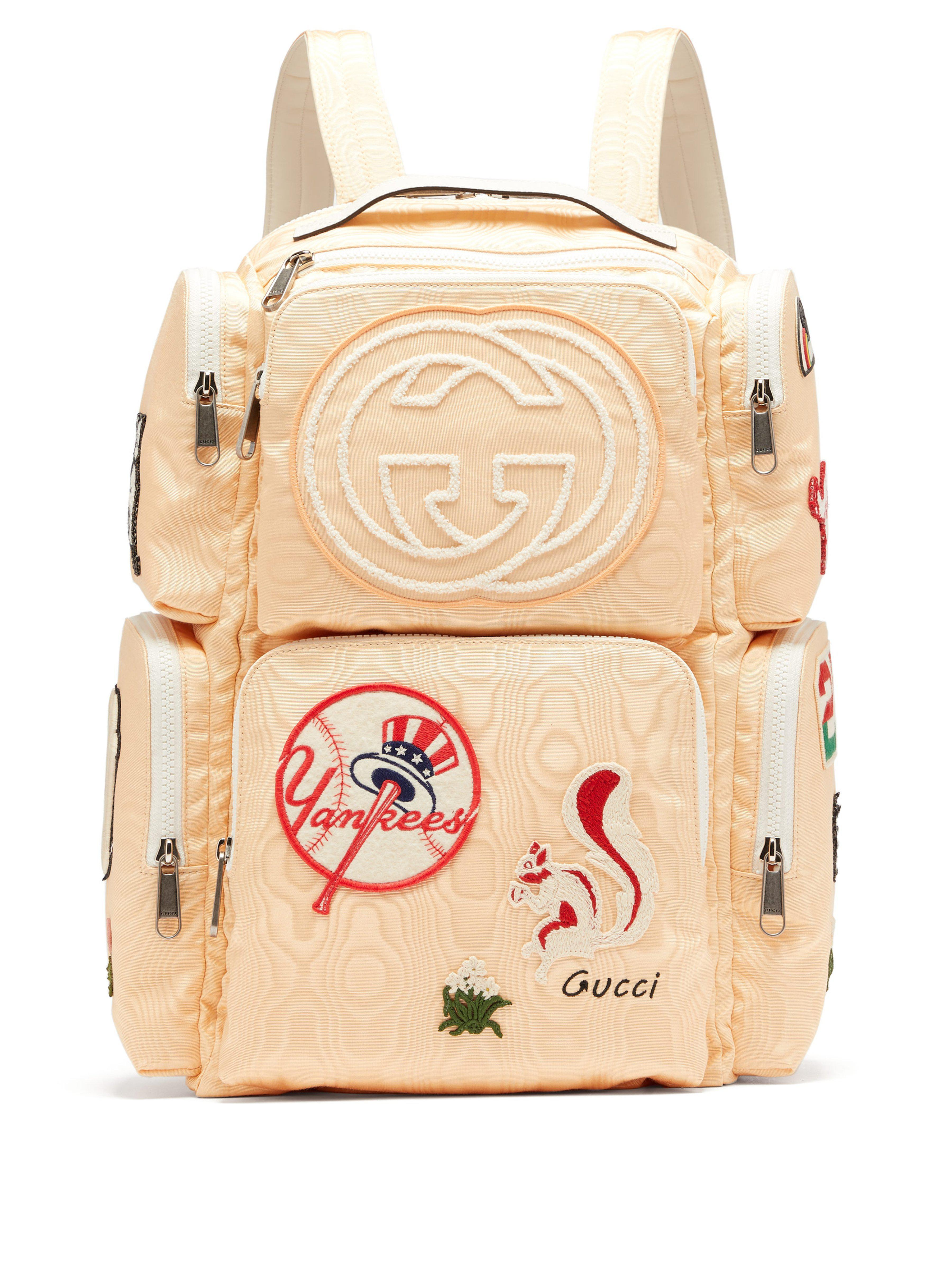 Gucci - Yellow Patch Embellished Leather Trimmed Canvas Backpack for Men -  Lyst. View fullscreen 0a210987ea
