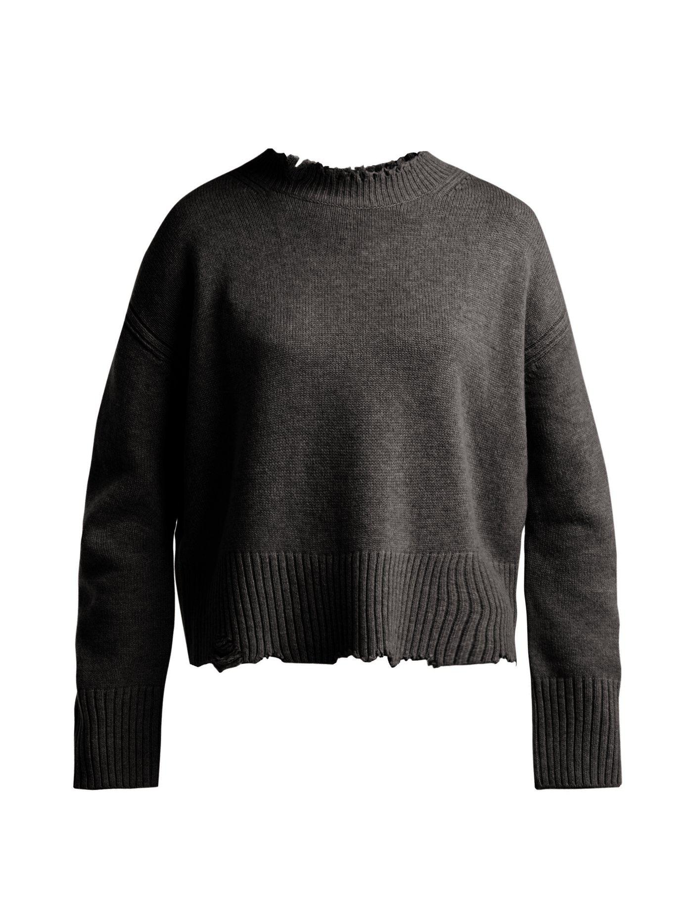 078bdc374cb09 Lyst - Helmut Lang Distressed Crew Neck Sweater in Gray