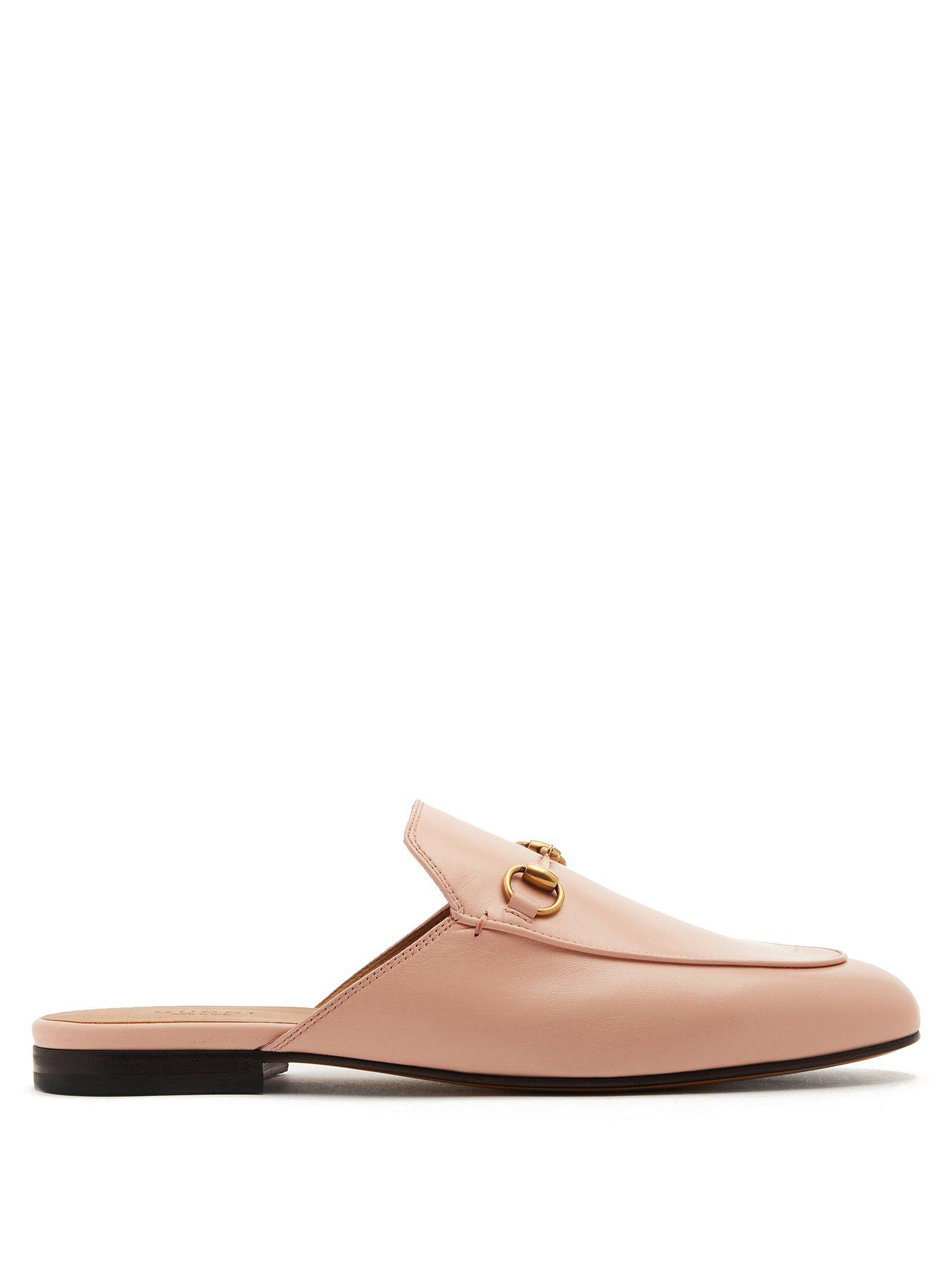 ec597ec55fecd2 Lyst - Gucci Princetown Leather Backless Loafers in Pink - Save 2%