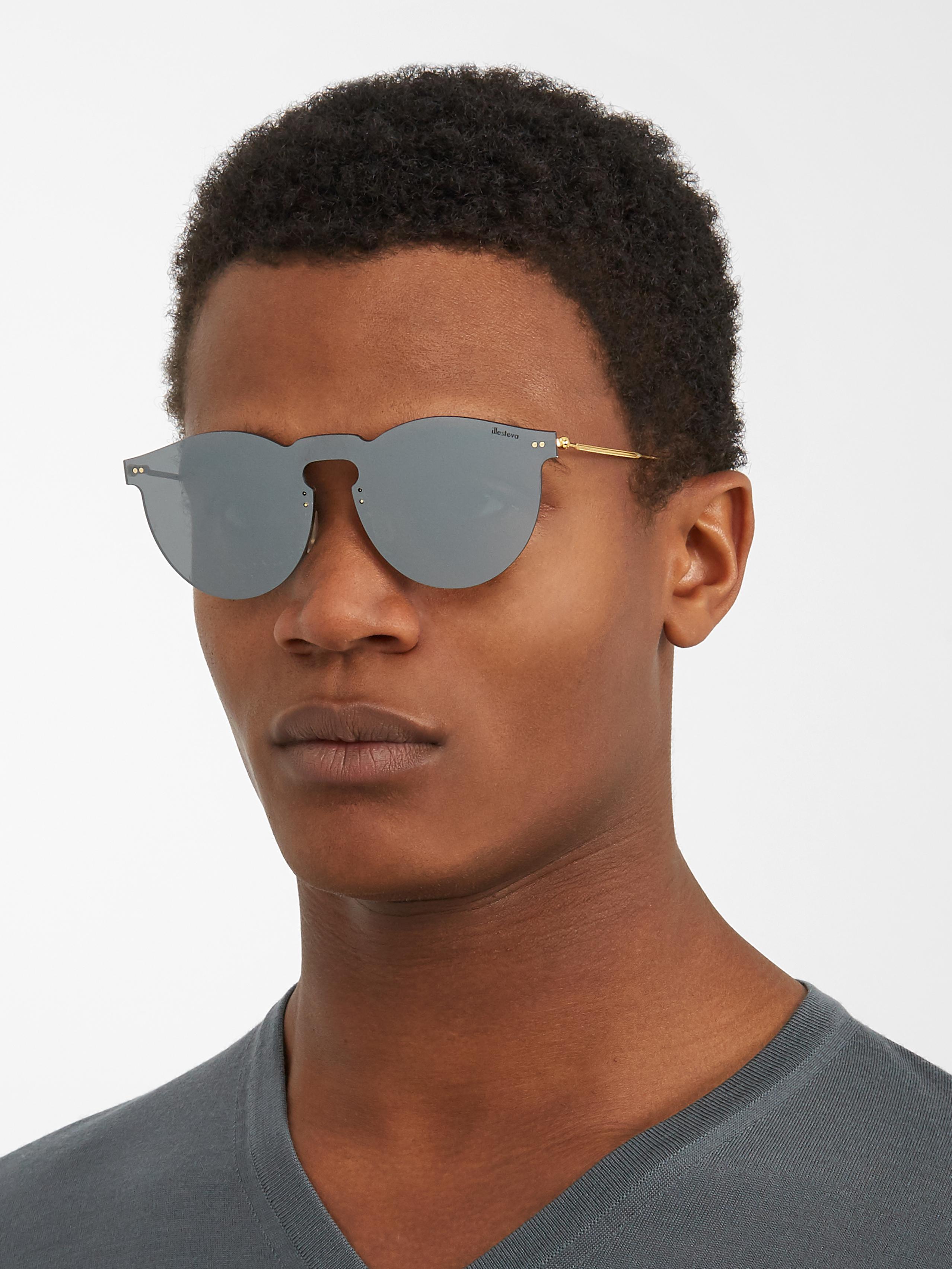 9bed48ebde Illesteva Leonard Mask Mirrored Sunglasses in Metallic for Men - Lyst