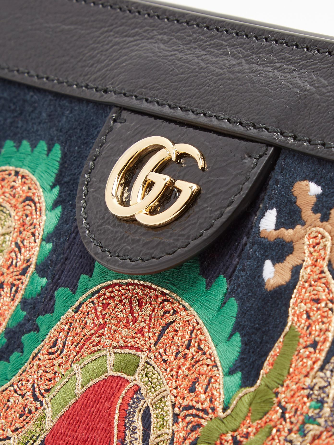 8045e59419d Lyst - Gucci Ophidia Dragon-embroidered Suede Shoulder Bag in Black