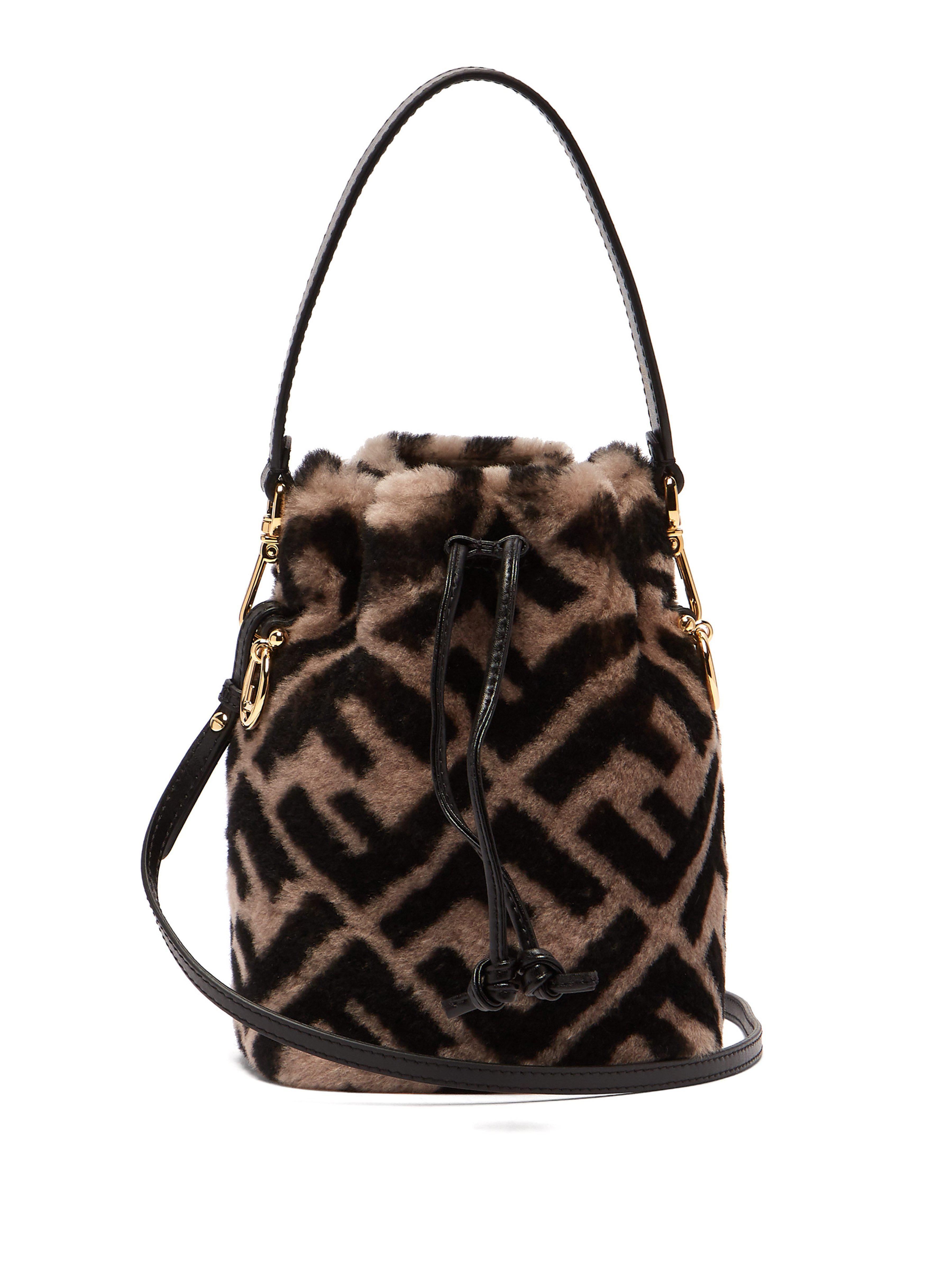 Fendi. Women s Mon Tresor Logo Print Shearling Bucket Bag 7e1970f7022
