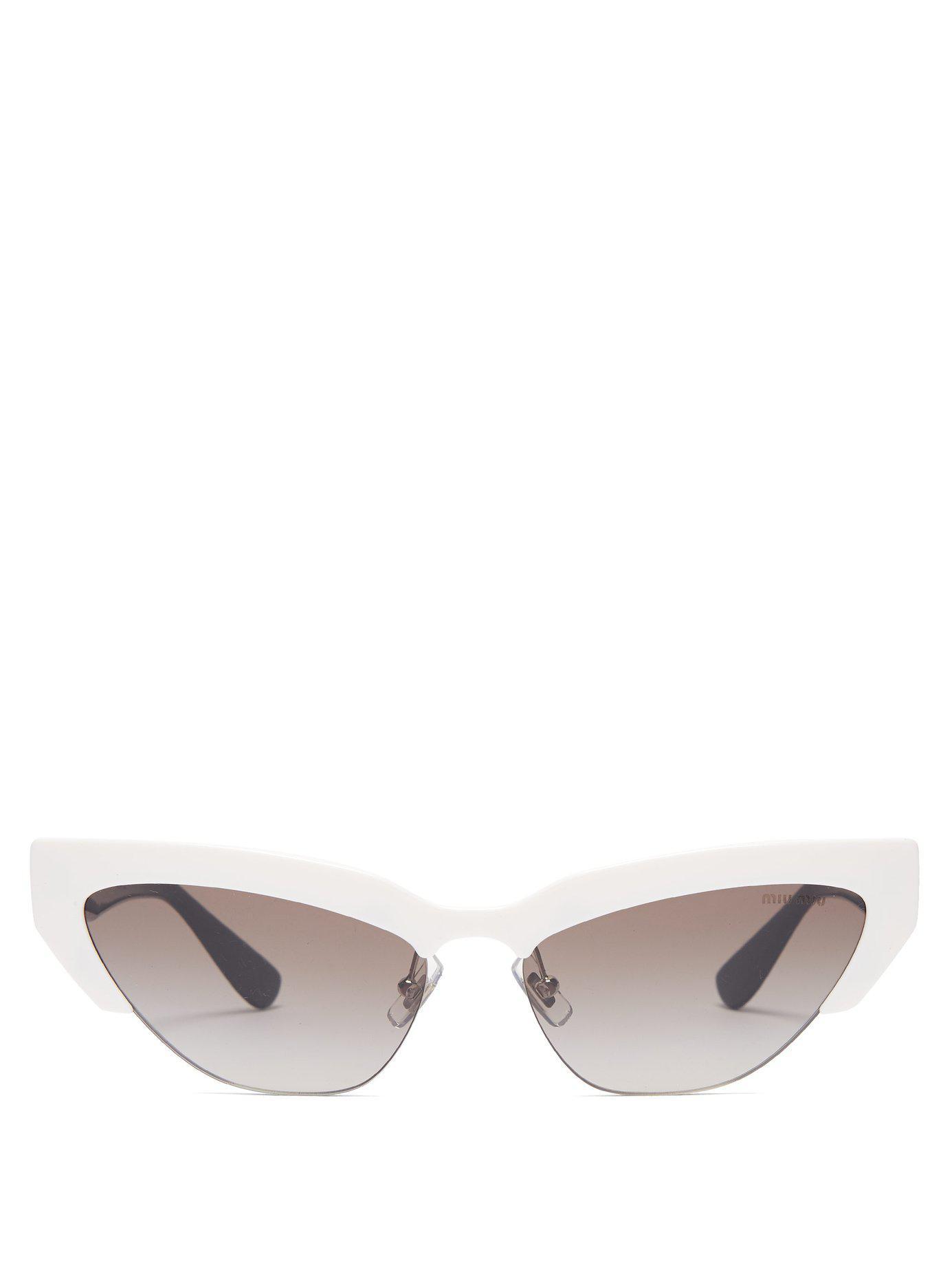 e811bcf2af7d Lyst - Miu Miu Cat Eye Acetate Sunglasses in White