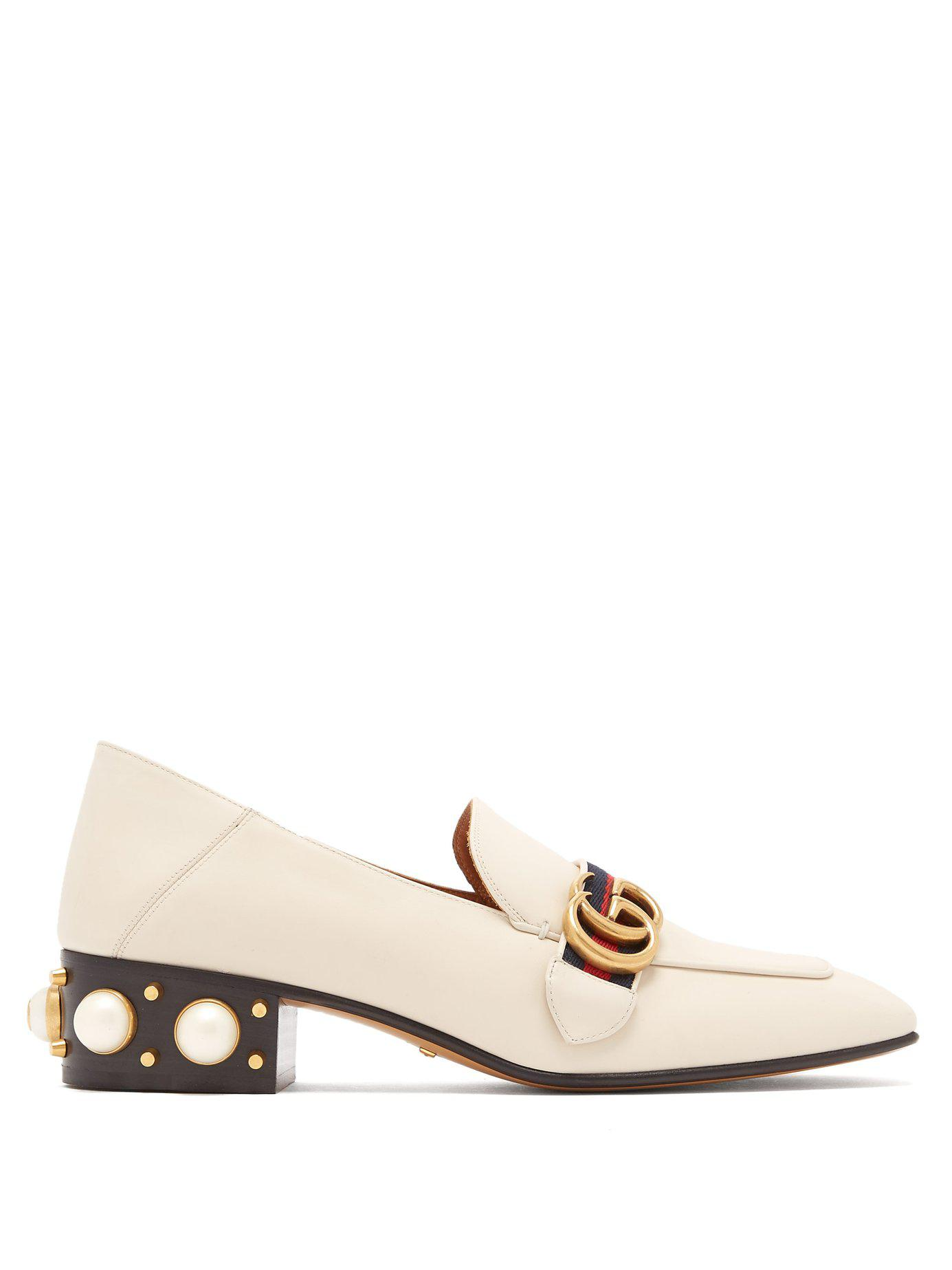 65f8175af5e Lyst - Gucci Peyton Pearl Embellished Leather Loafers in White