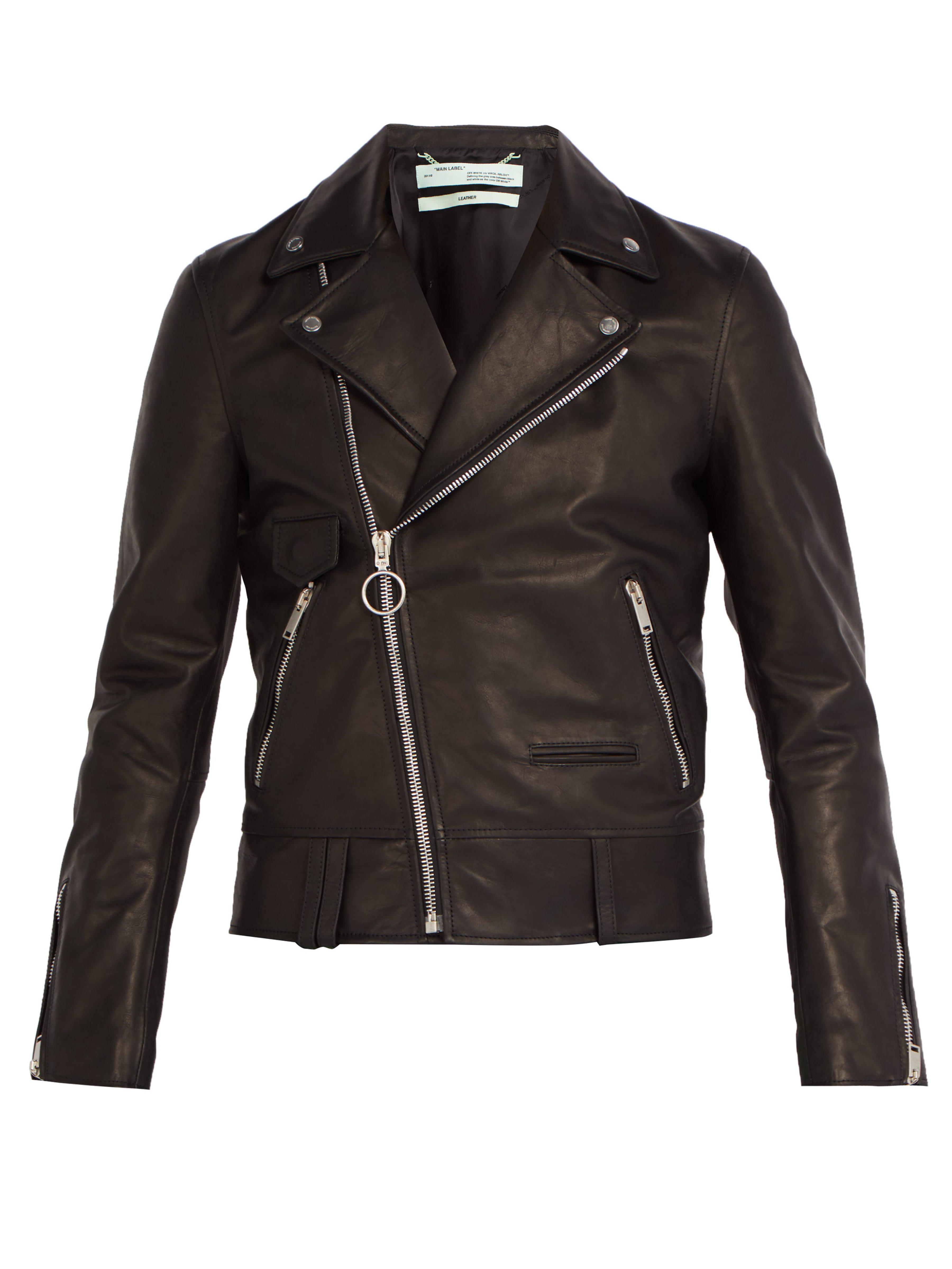 344f99295e3 Off-White c o Virgil Abloh 99 Logo Print Leather Biker Jacket in ...
