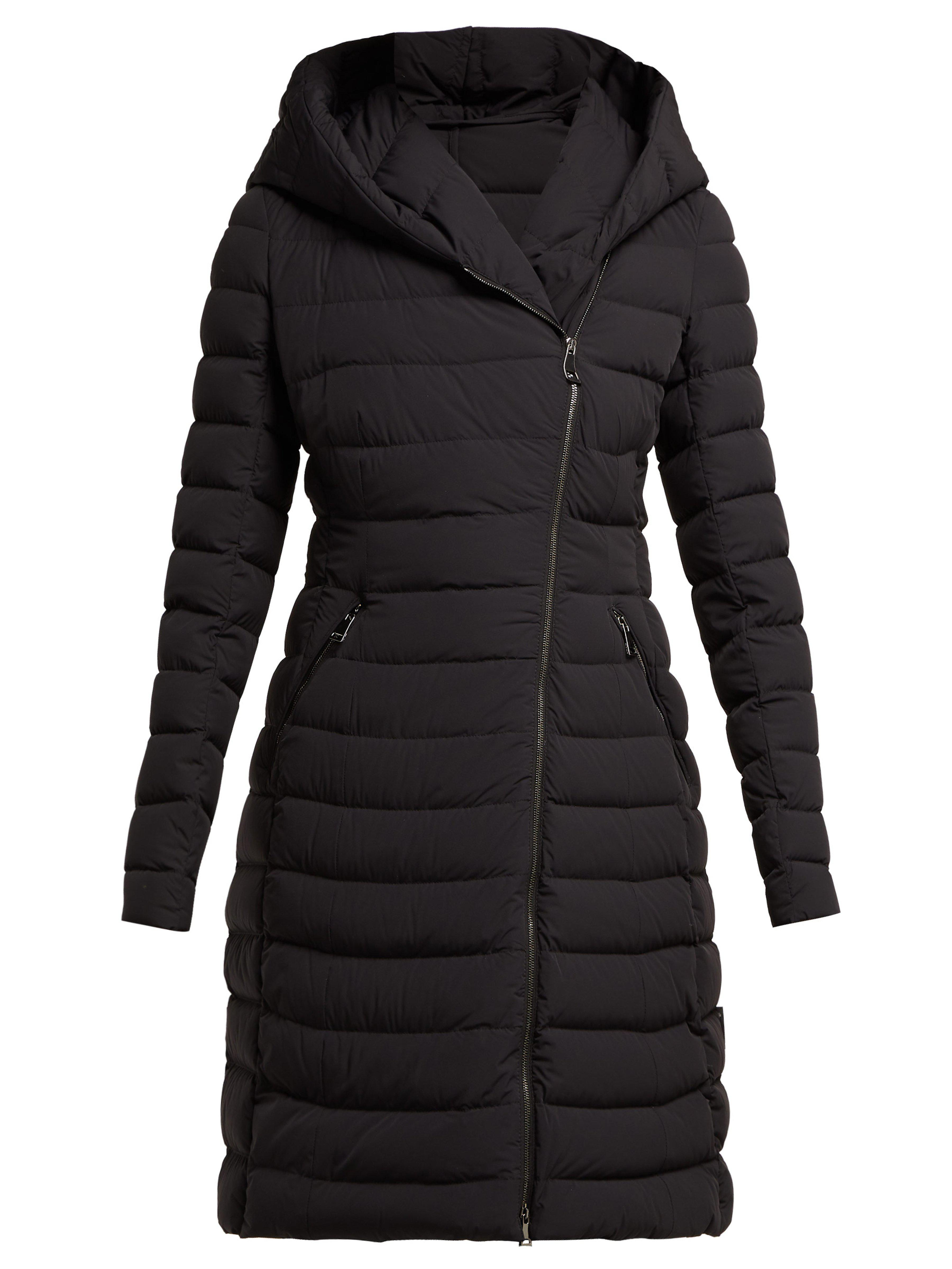 4626e91d64d2 Moncler Barge Asymmetric Zip Quilted Down Filled Coat in Black - Lyst