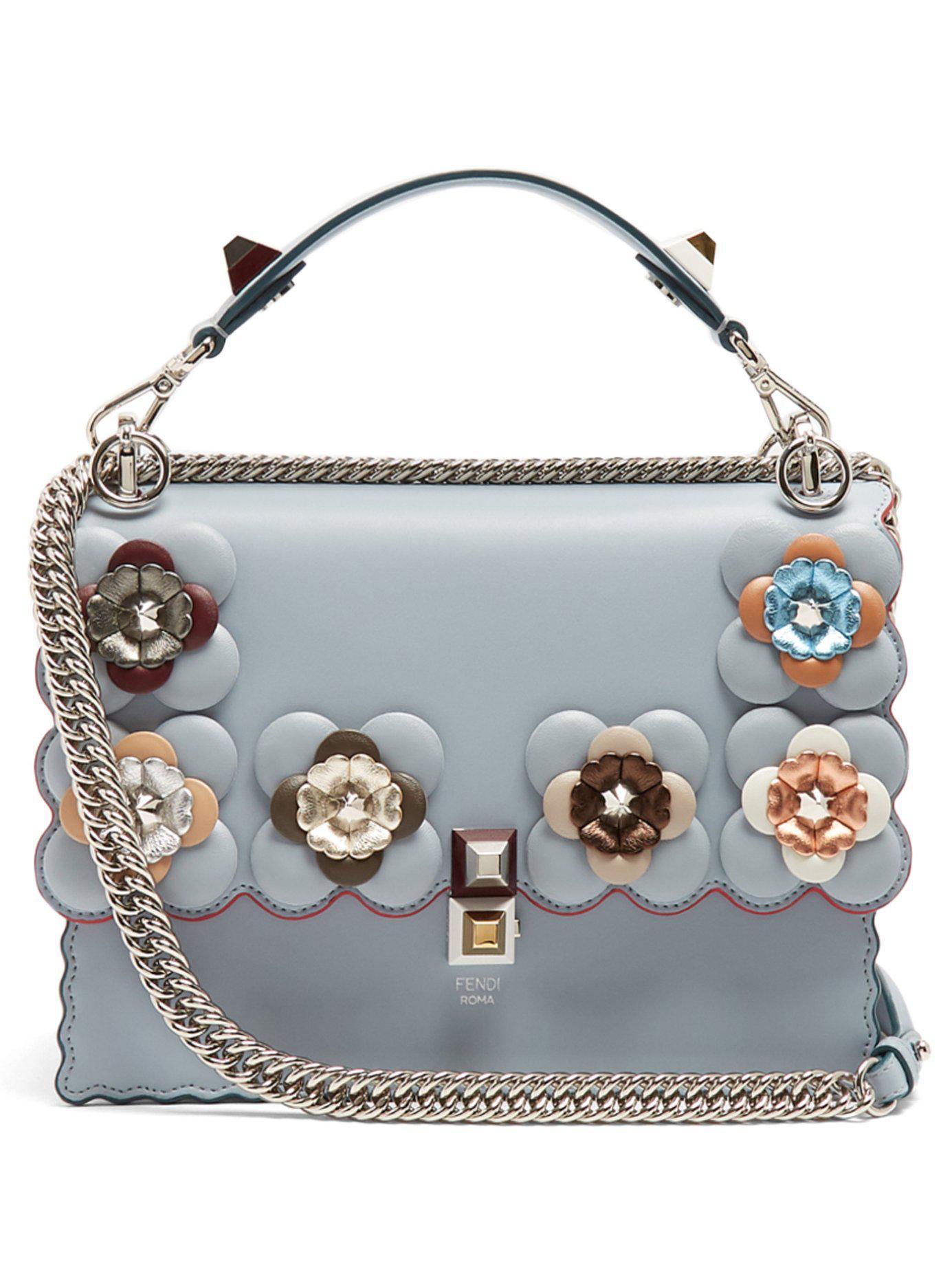 Lyst - Fendi Kan I Flower-embellished Leather Shoulder Bag in Blue b8f1d2a2dbadd