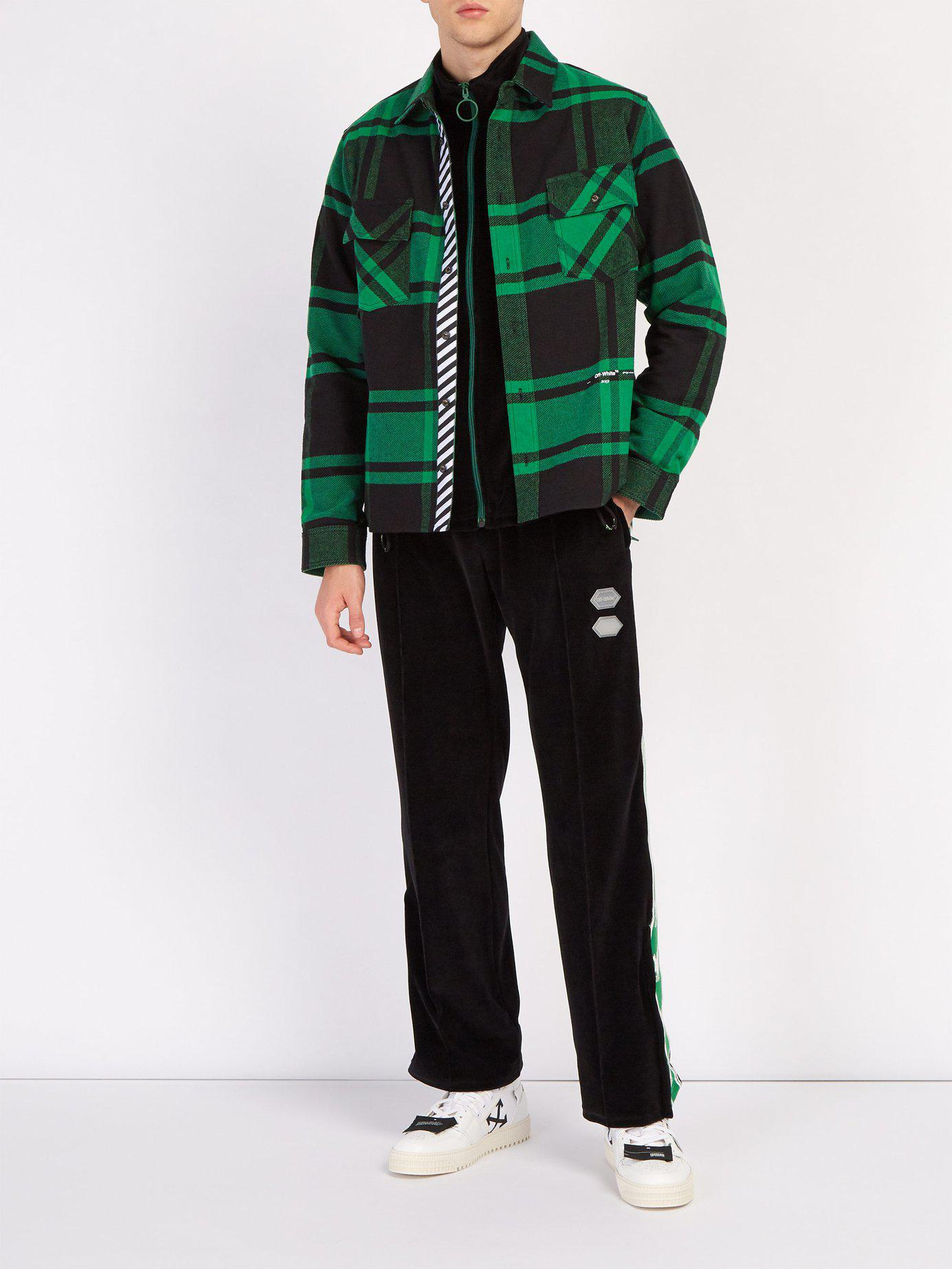 67c0fa55973 Lyst - Off-White c o Virgil Abloh Checked Cotton Blend Flannel Shirt in  Green for Men