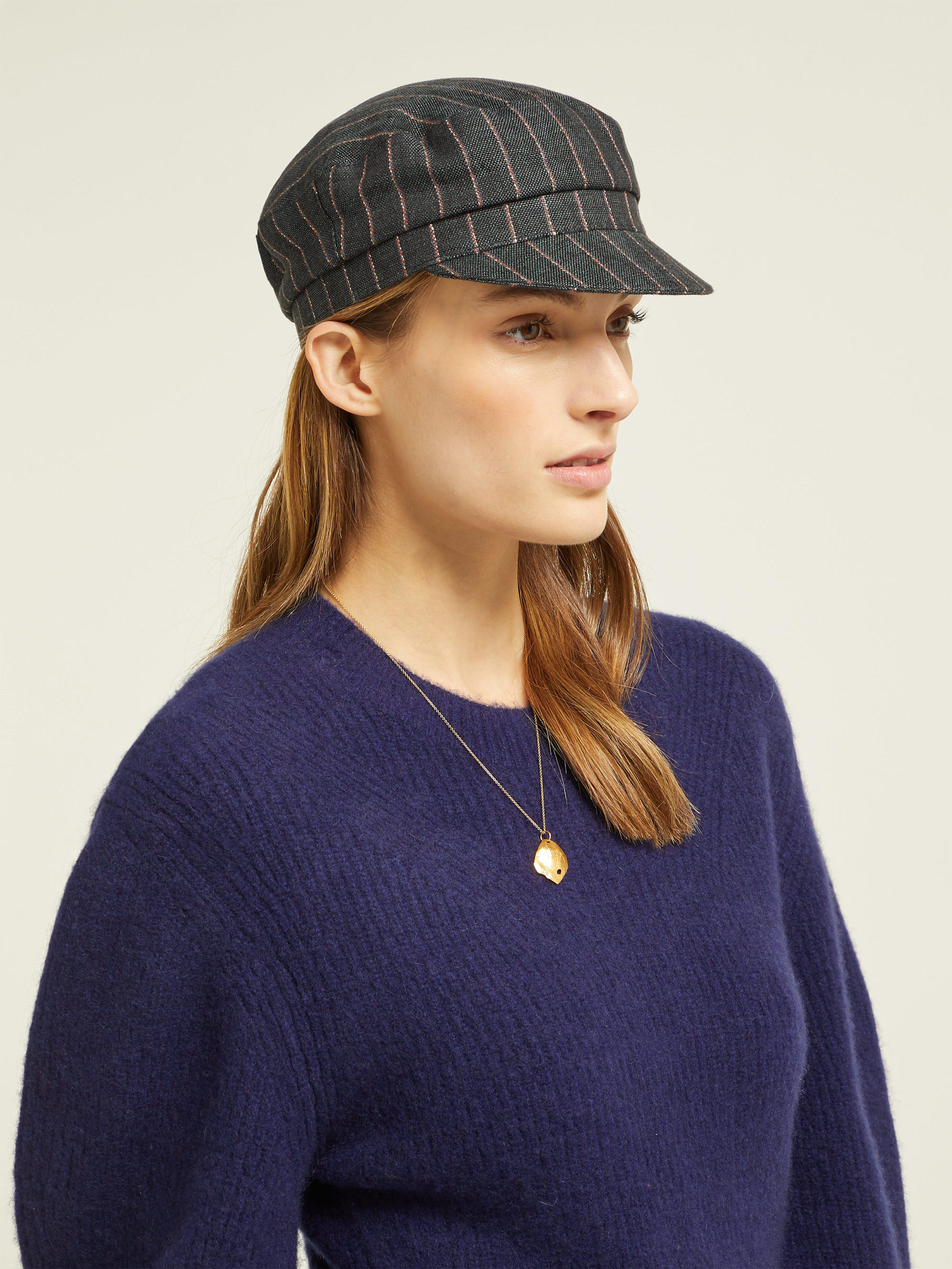 6855048f Isabel Marant Striped Linen Captain's Hat in Black - Save 10% - Lyst