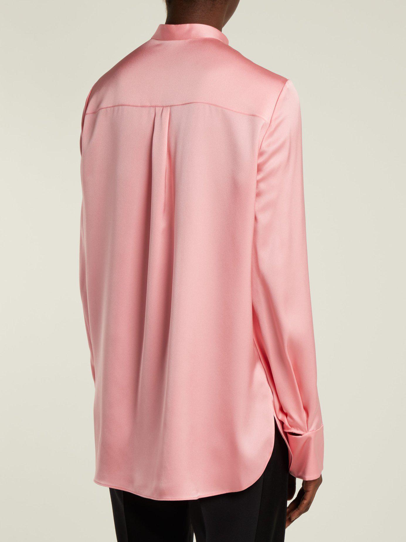 b89c865e863cf9 Alexander McQueen - Pink Silk Satin Long Sleeve Blouse - Lyst. View  fullscreen