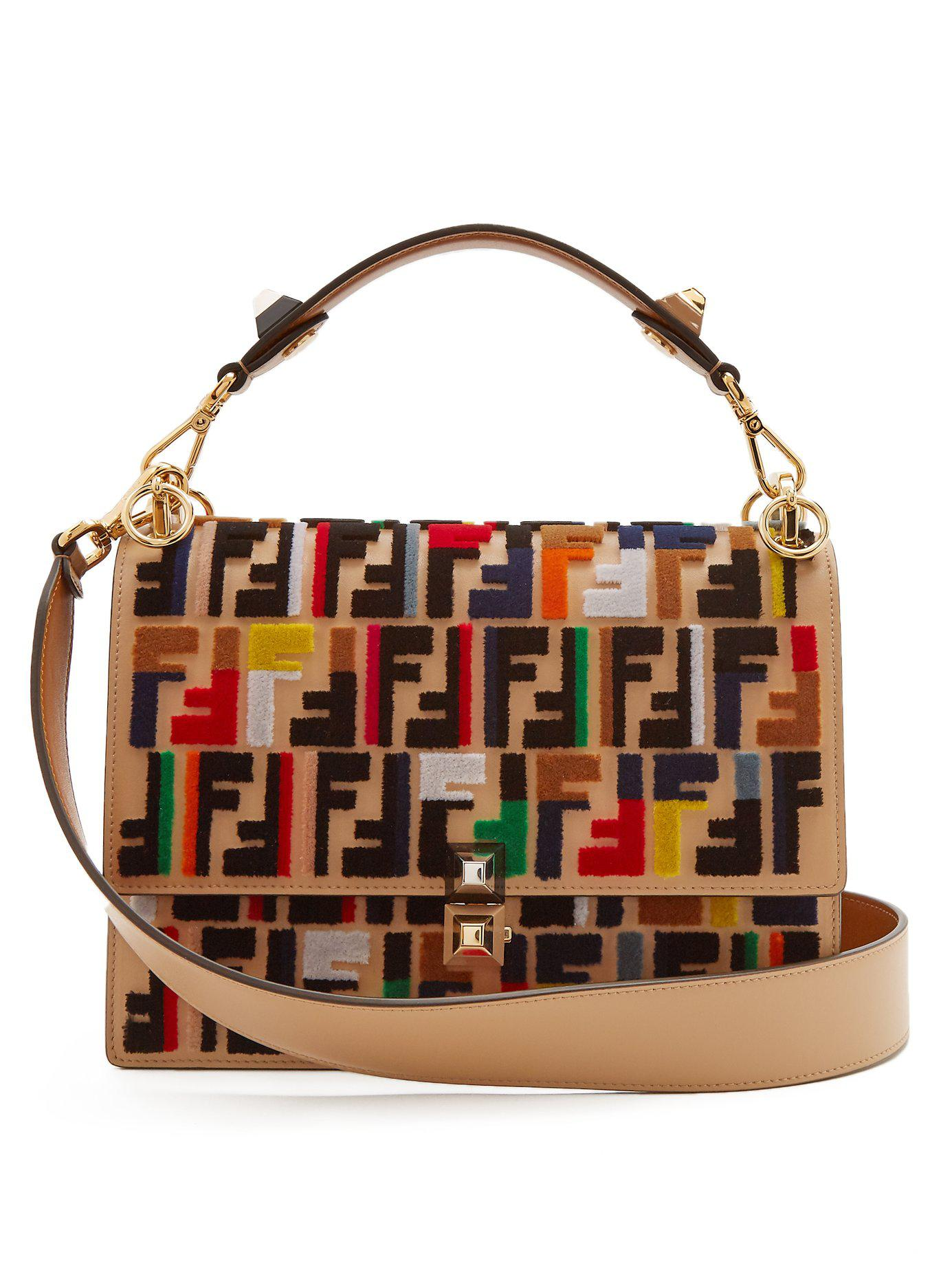 5e13feb56637 Lyst - Fendi Kan I Fun Fair Leather Shoulder Bag in Brown