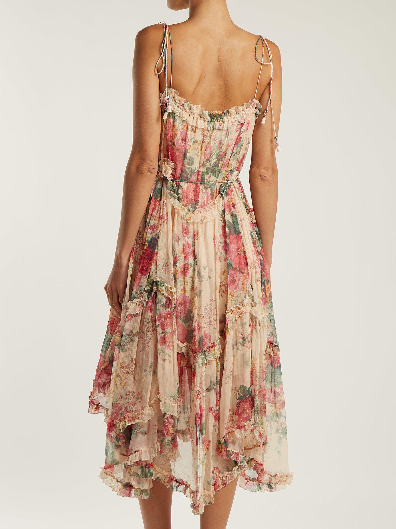 8e17fd4b010978 Zimmermann - Multicolor Laelia Floral Print Silk Dress - Lyst. View  fullscreen
