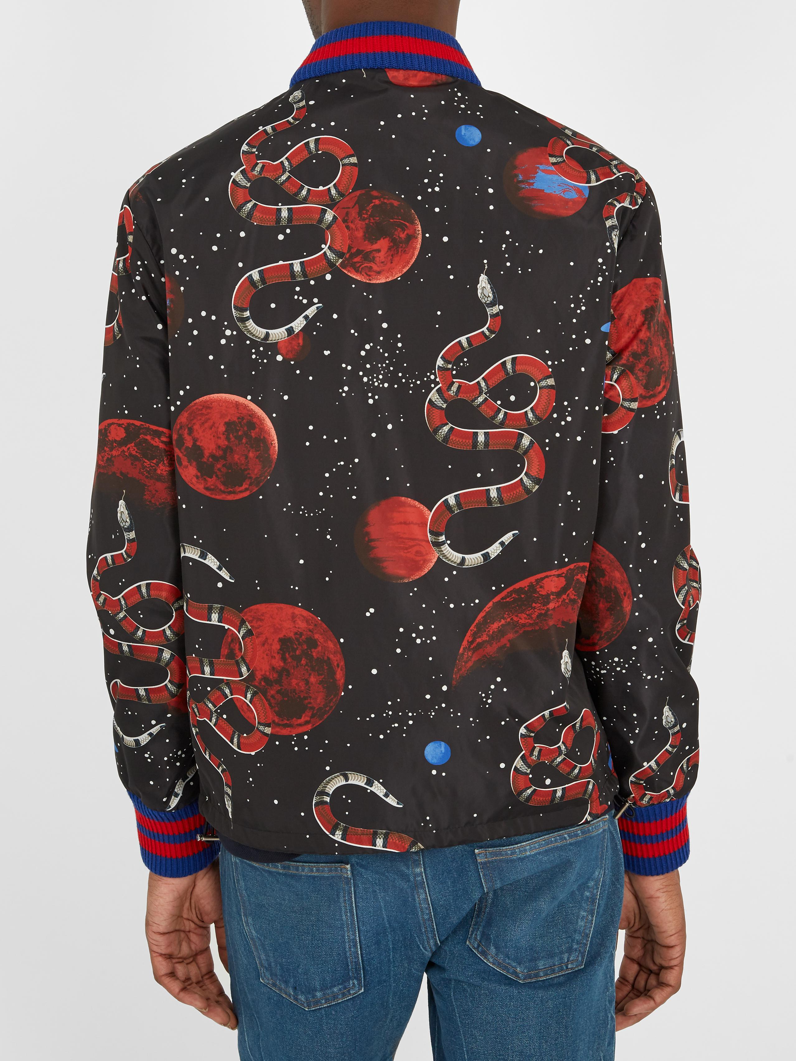 d2b685c0a07 Lyst - Gucci Space Snake-print Detachable-hood Jacket in Black for Men