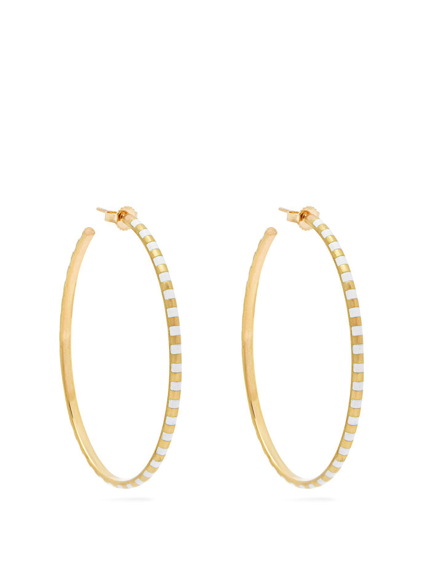 Marc Alary Women S Metallic 18kt Gold And White Enamel Hoop Earrings
