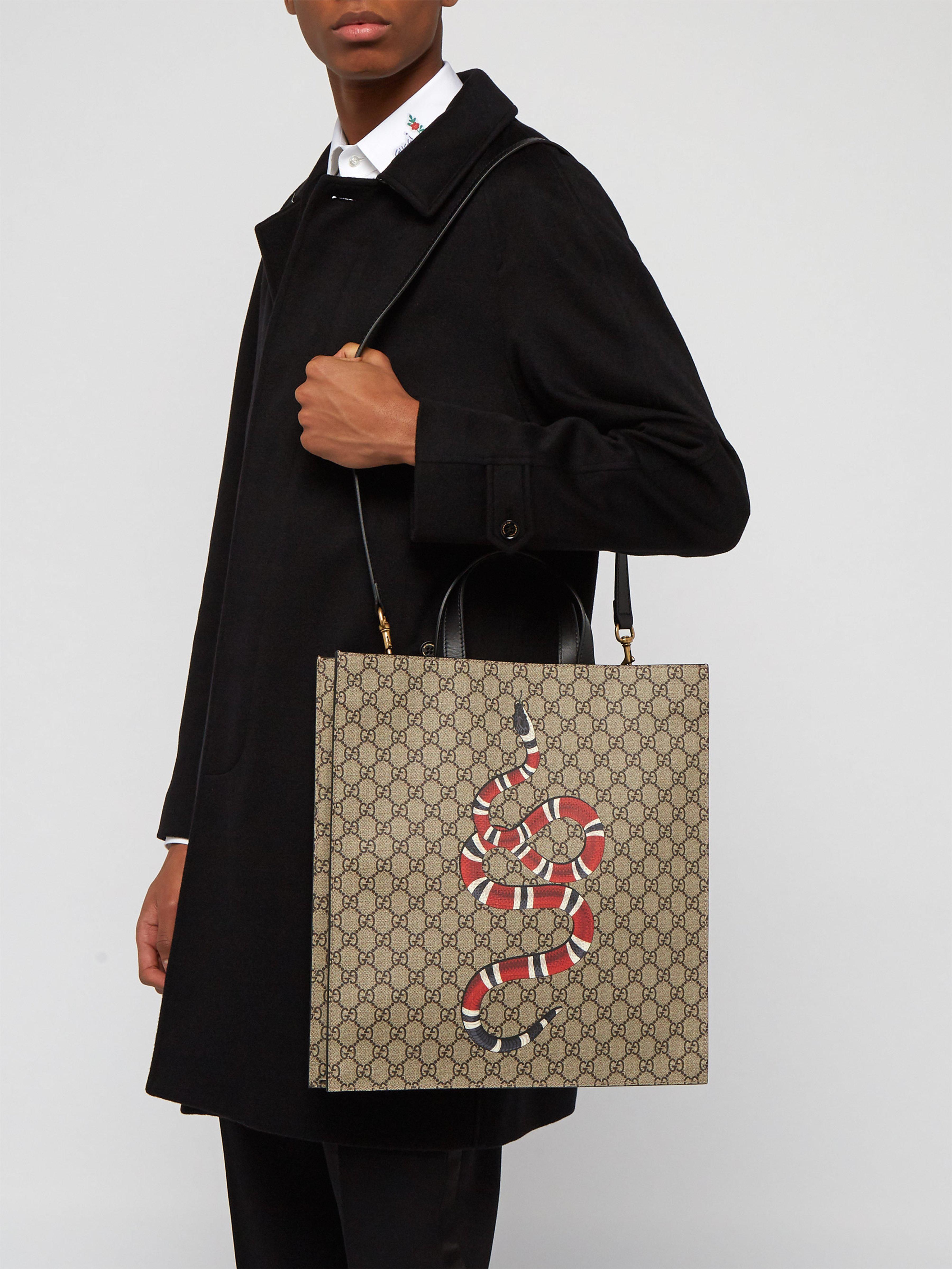 c38aa662512 Gucci Gg Supreme And Kingsnake Print Tote Bag in Natural for Men - Lyst