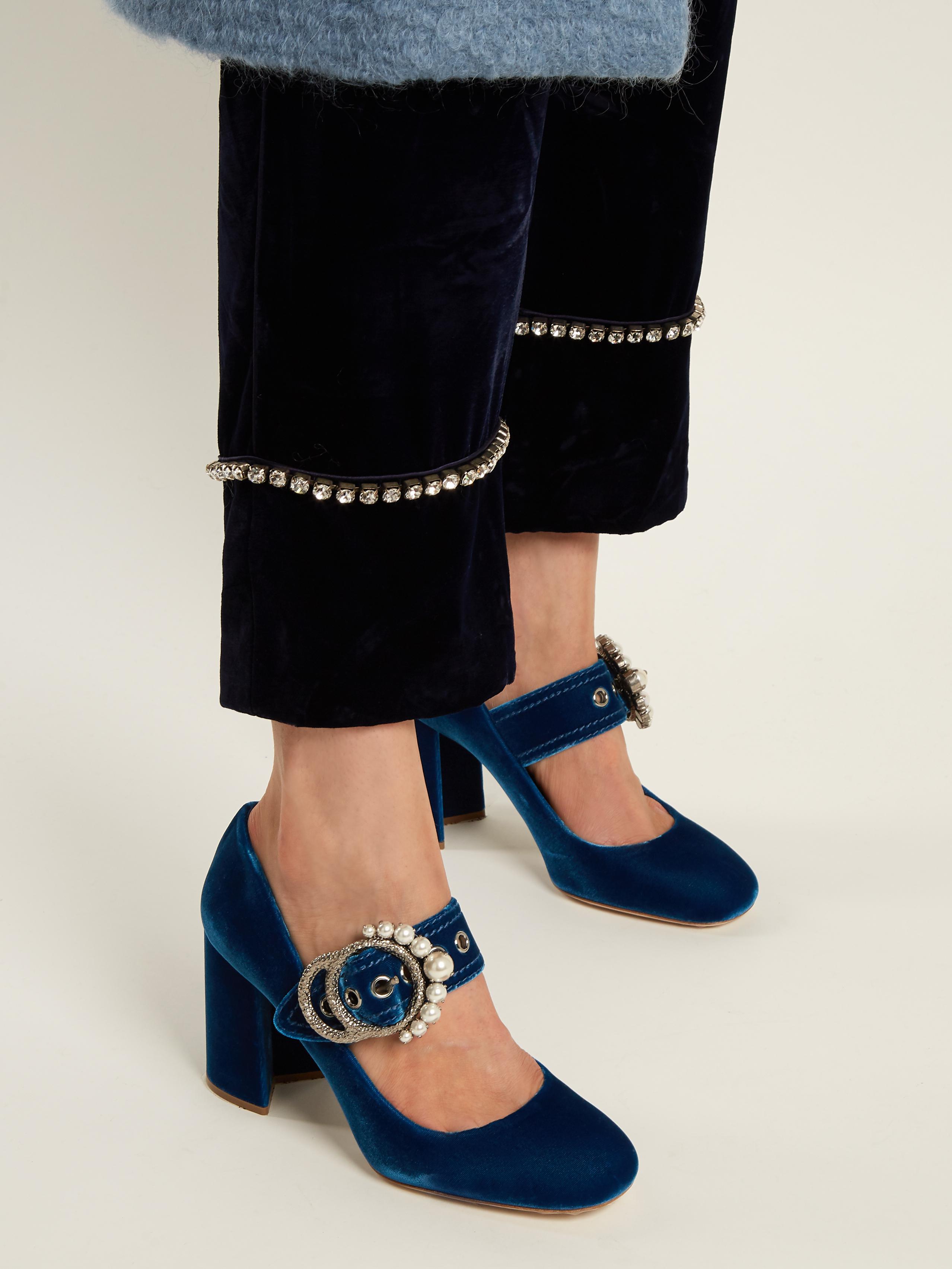 d308863dce9 Lyst - Miu Miu Embellished Velvet Block-heel Pumps in Blue