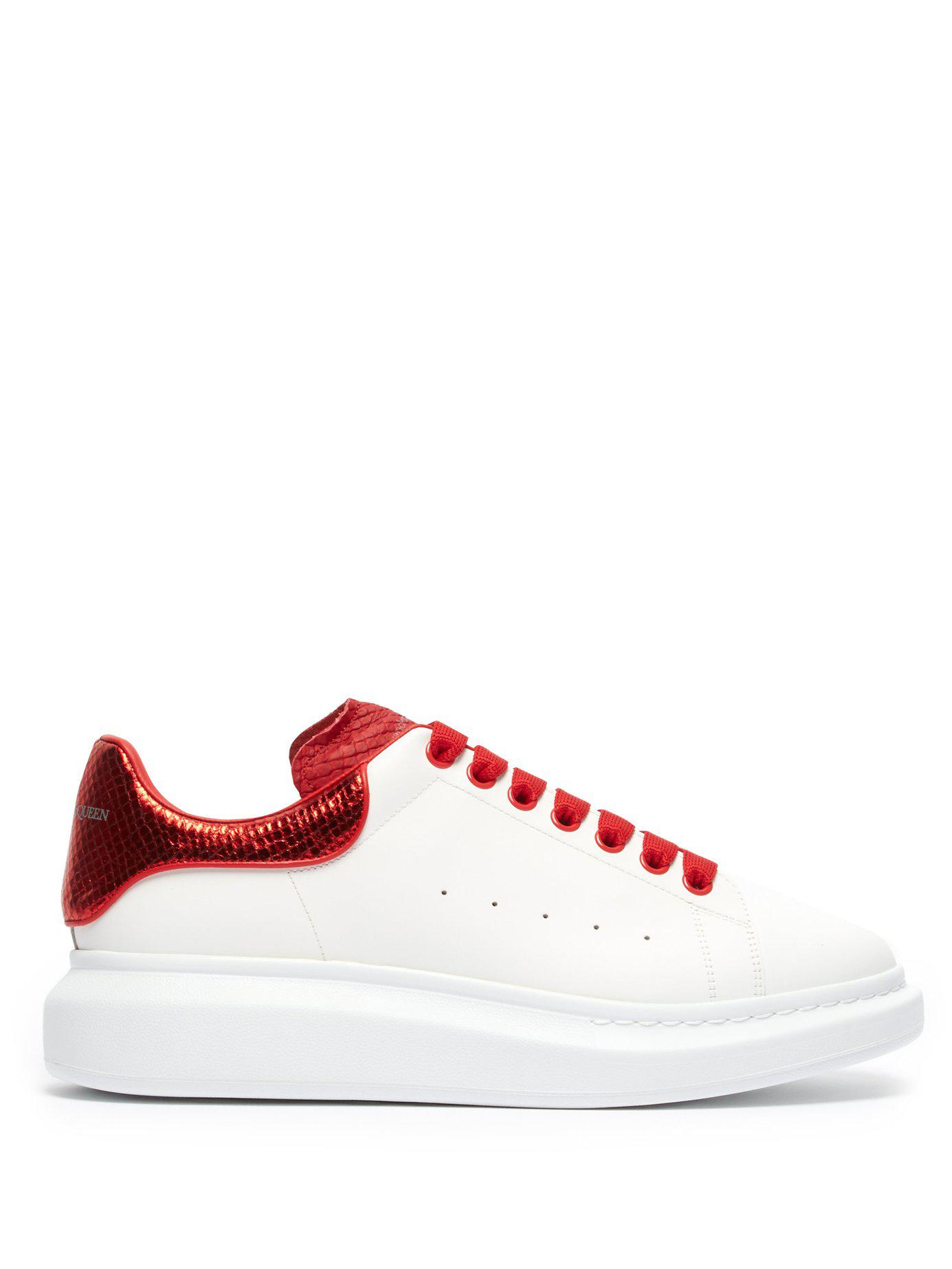 aa85e74853da3 Lyst - Alexander McQueen Raised Sole Low Top Leather Trainers in Red ...