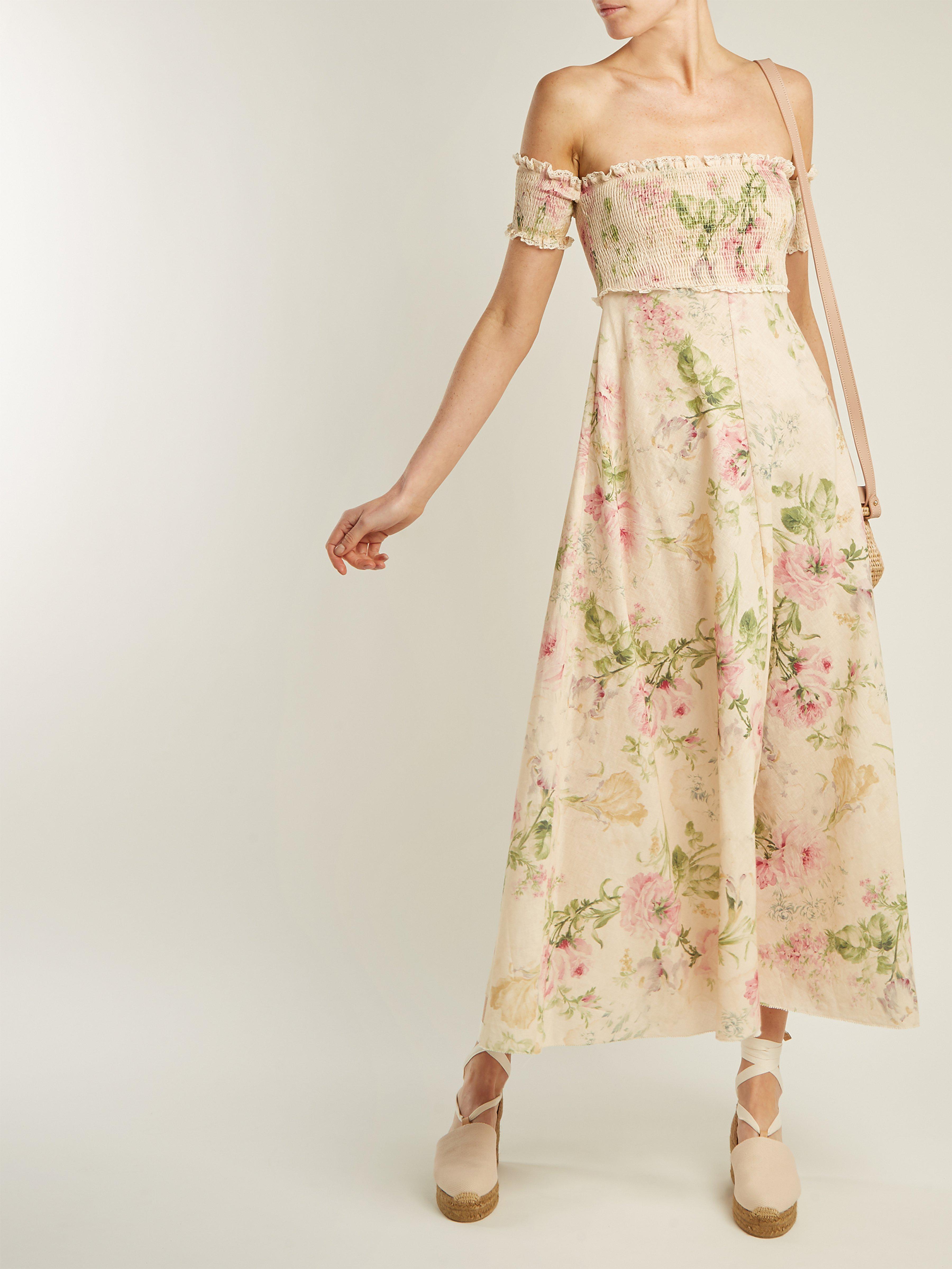 49f9e1994b Zimmermann Iris Shirred Linen And Cotton Blend Dress in Natural - Lyst