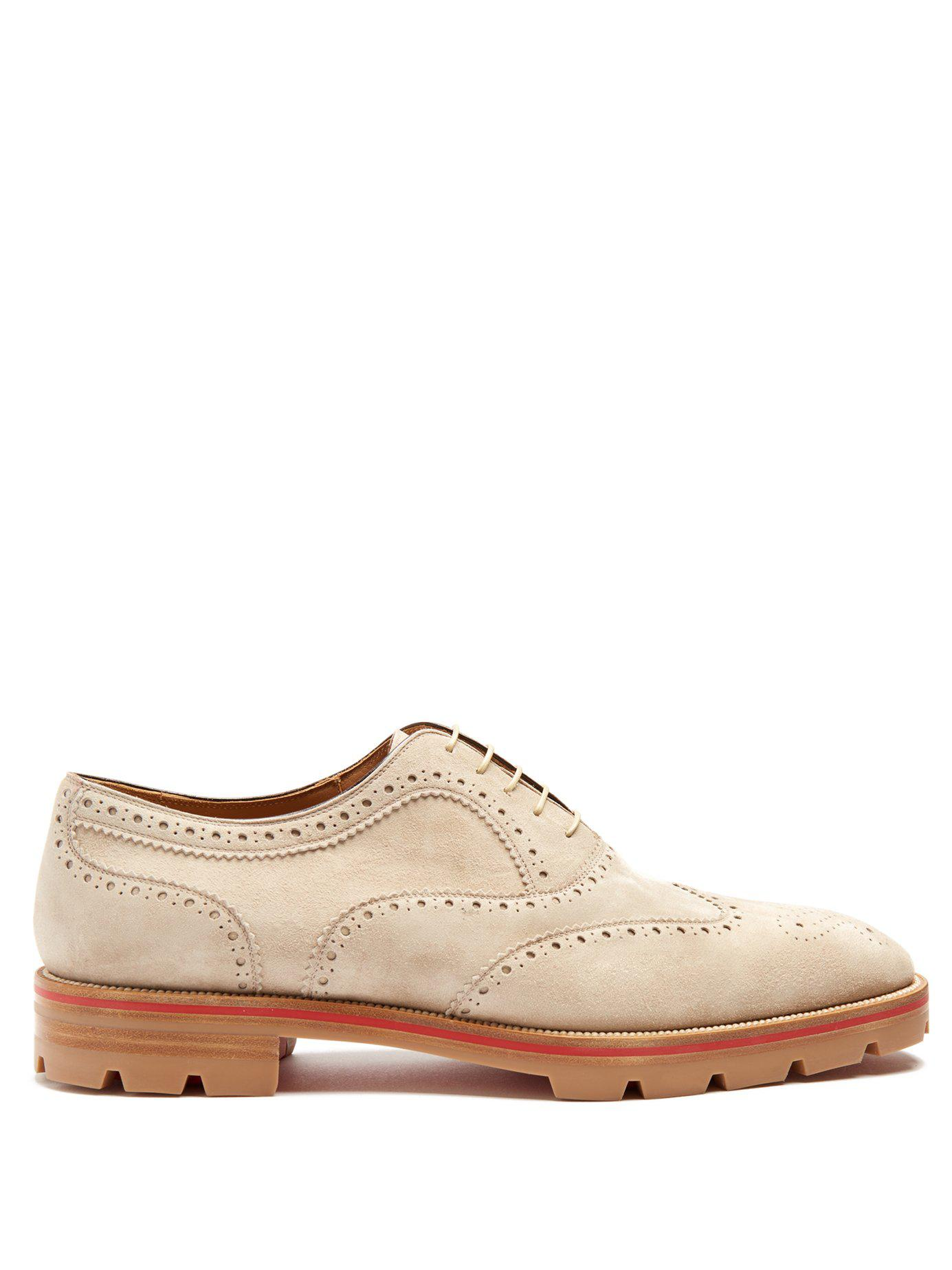 65292276abb6 Christian Louboutin Charlie Suede Oxford Shoes in Natural for Men - Lyst