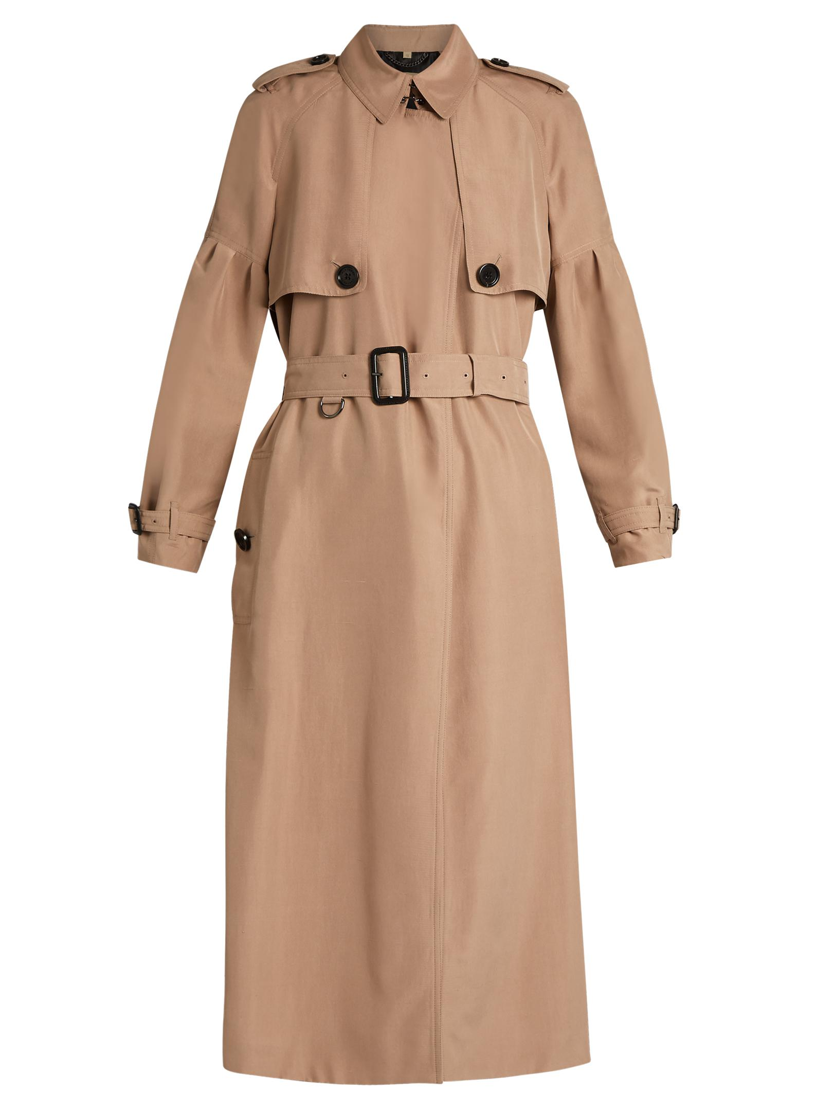 d6a10e1205e0 Burberry Maythorne Mulberry-silk Trench Coat in Natural - Lyst