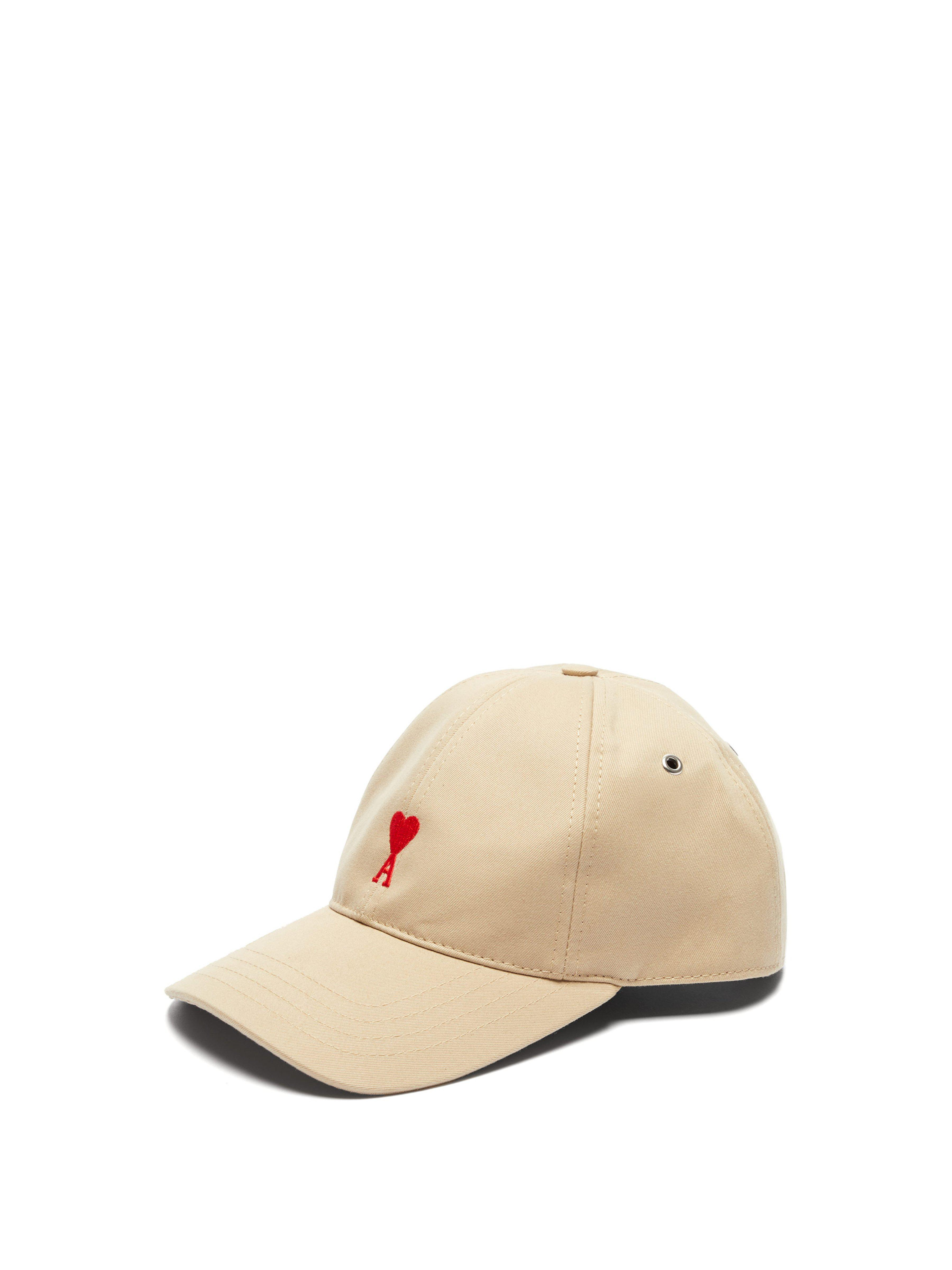 a0846975c85 Ami Logo Embroidered Cotton Cap in Natural for Men - Lyst