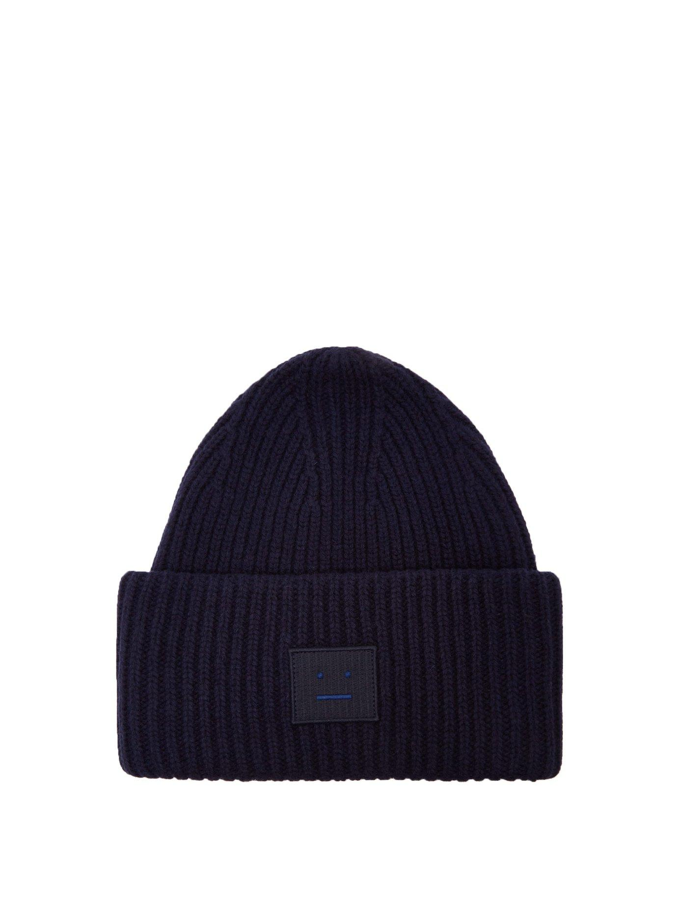 e4d0c9109b7820 Lyst - Acne Studios Pansy L Face Knit Hat In Navy in Blue