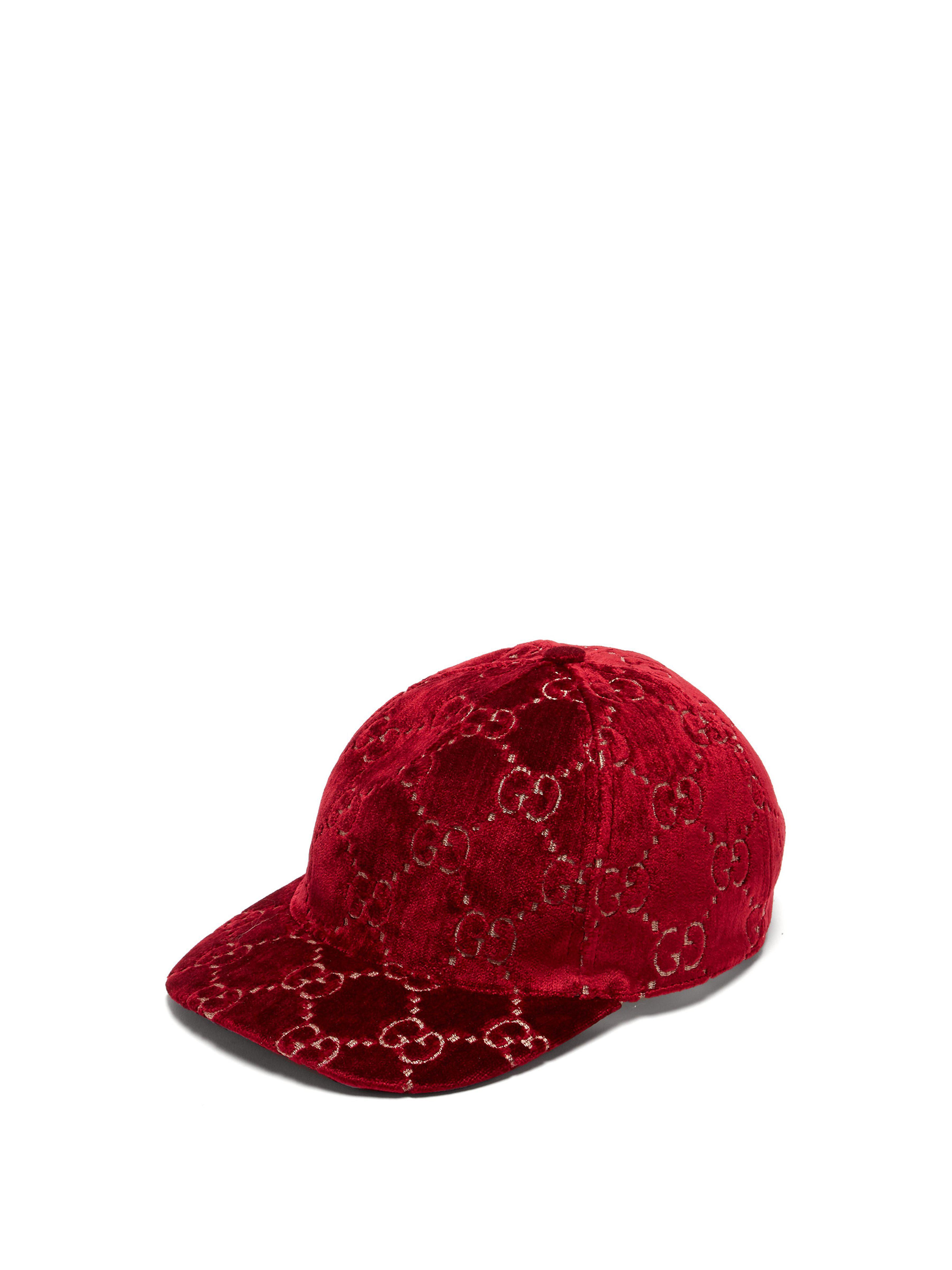 265114f35053 Lyst - Casquette en velours à broderie GG Gucci en coloris Rouge