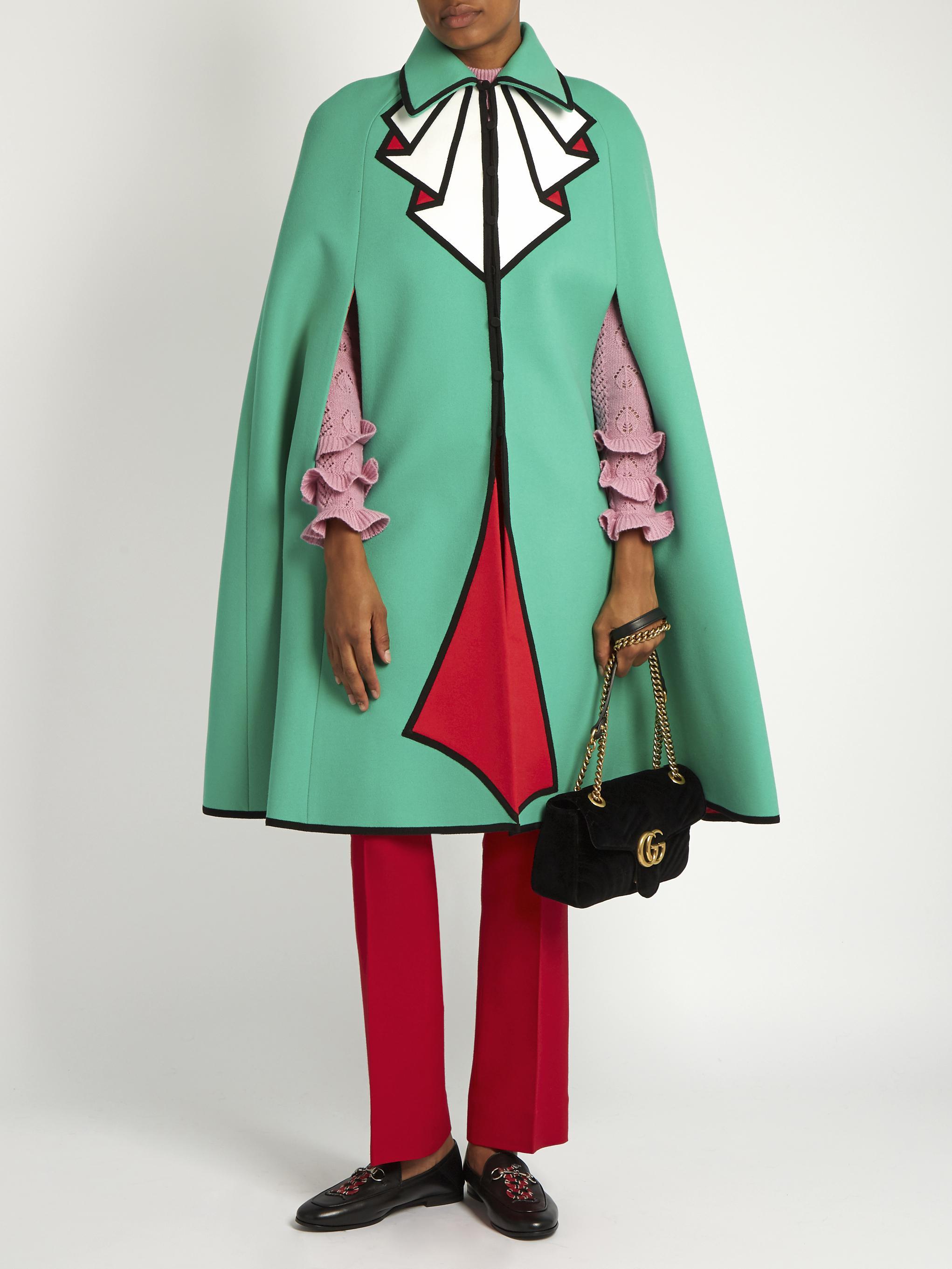 3ba196cf0 Gucci Trompe L'oeil Wool Cape in Blue - Lyst