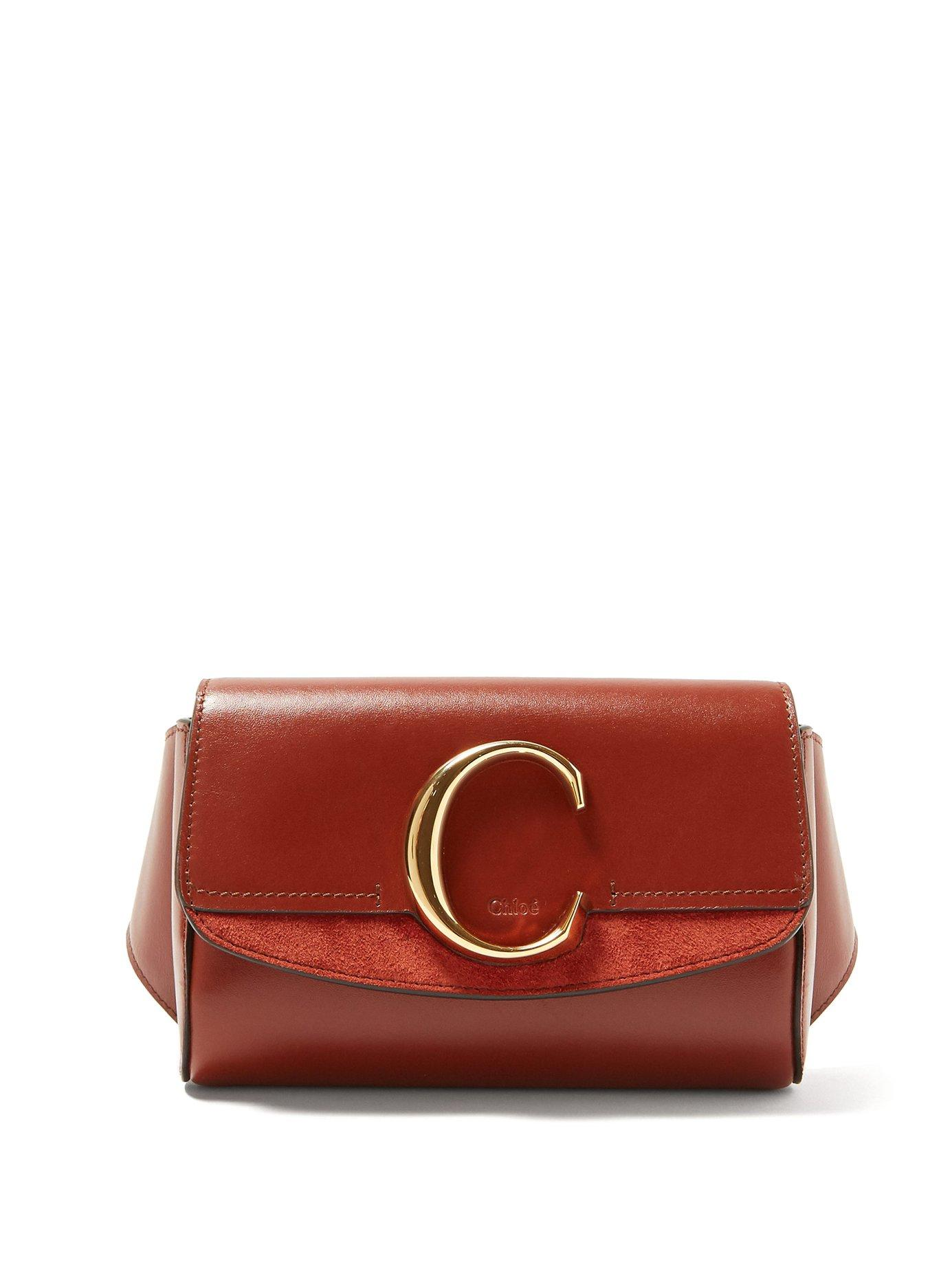 7451de2df8 Lyst - Chloé The C Leather And Suede Belt Bag in Brown