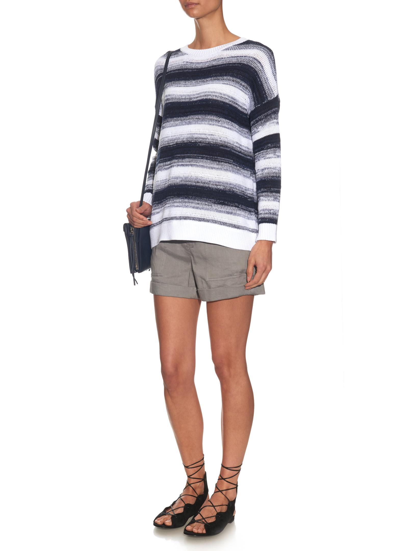 Vince Striped Cotton-knit Sweater | Lyst