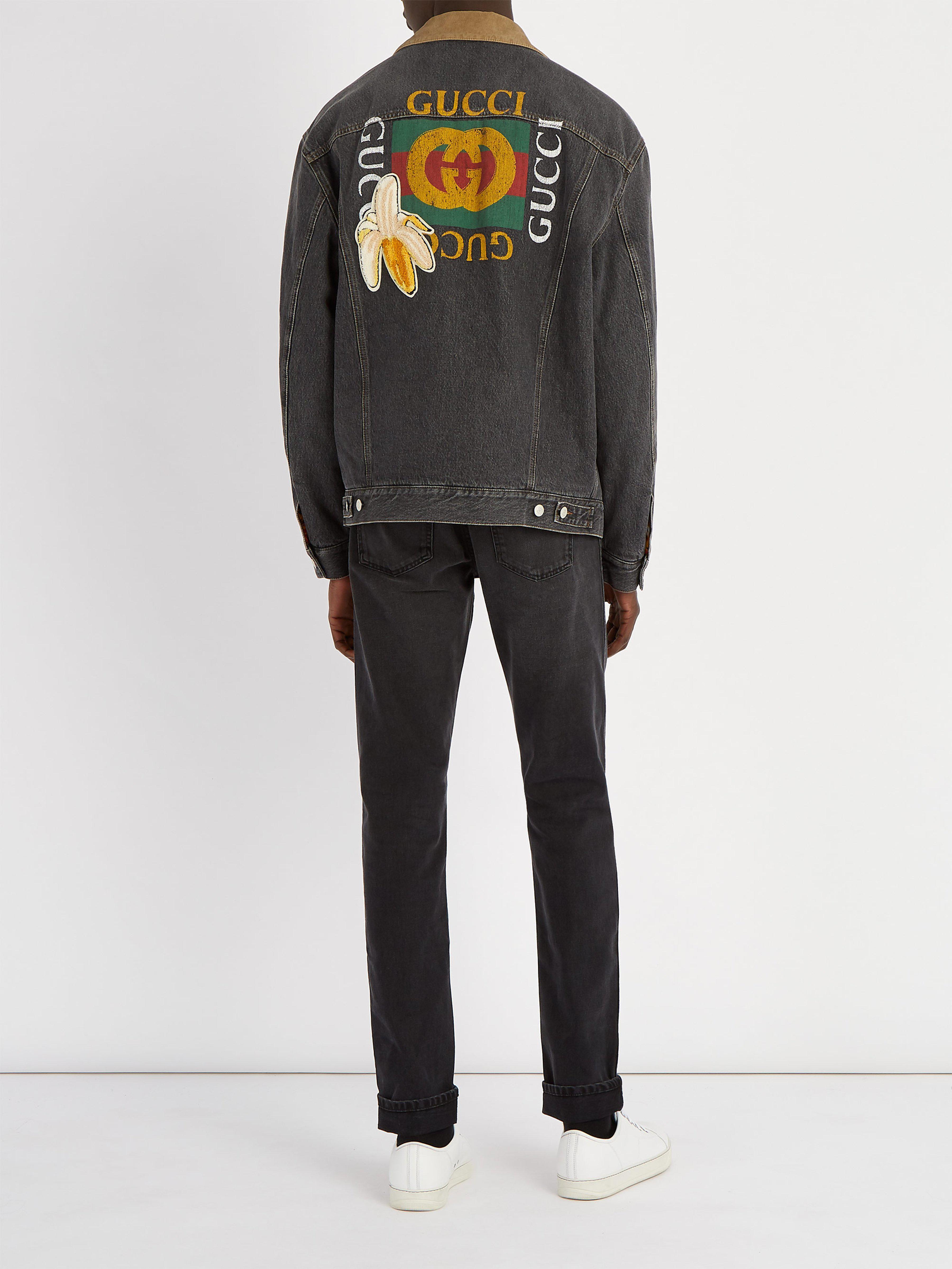 f554ee9bd Gucci Logo Denim Jacket in Black for Men - Save 47% - Lyst