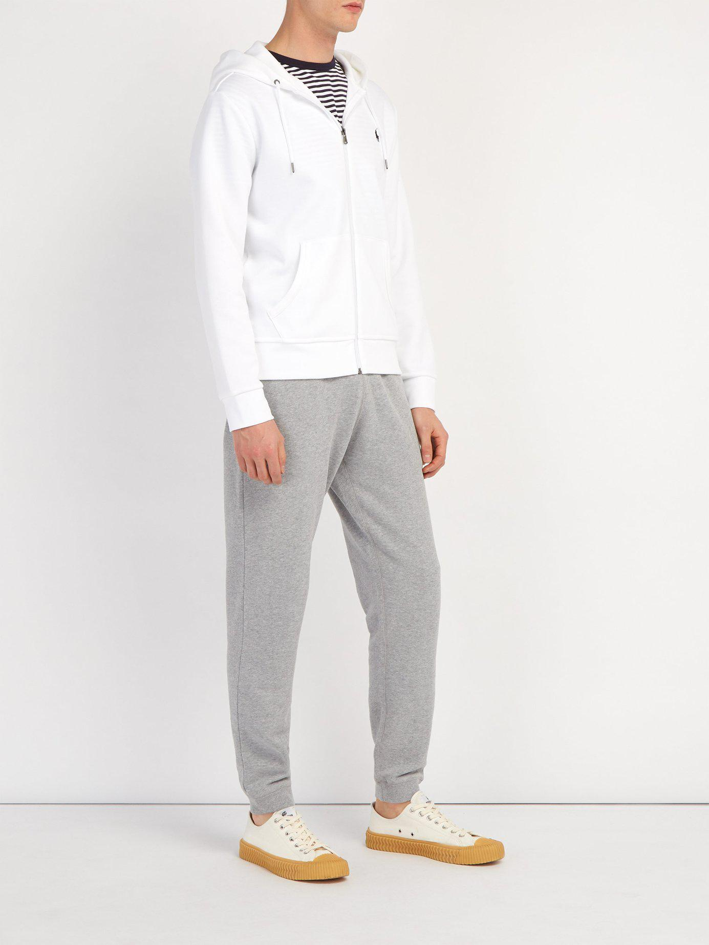 19bfb65e Lyst - Polo Ralph Lauren Logo Embroidered Zip Through Hooded Sweatshirt in  White for Men