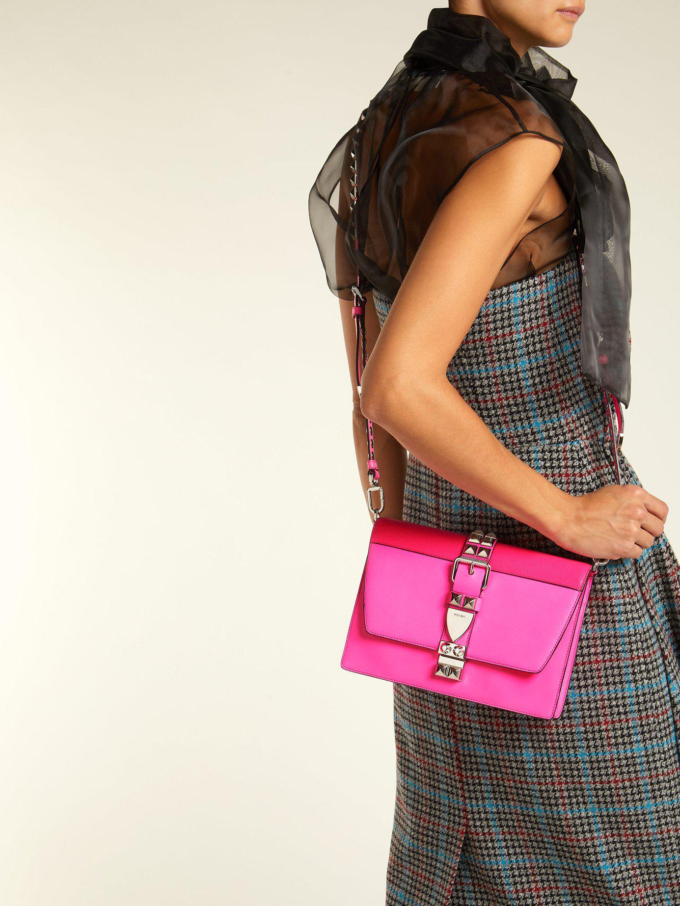 6036394b98a8 Lyst - Prada Elektra Studded Leather Shoulder Bag in Pink