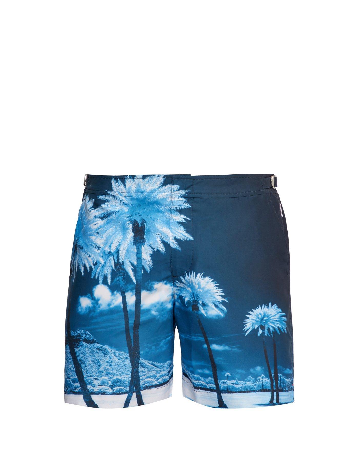 e8c0429339b Lyst - Orlebar Brown Bulldog Palm Tree Print Swim Shorts in Blue for ...
