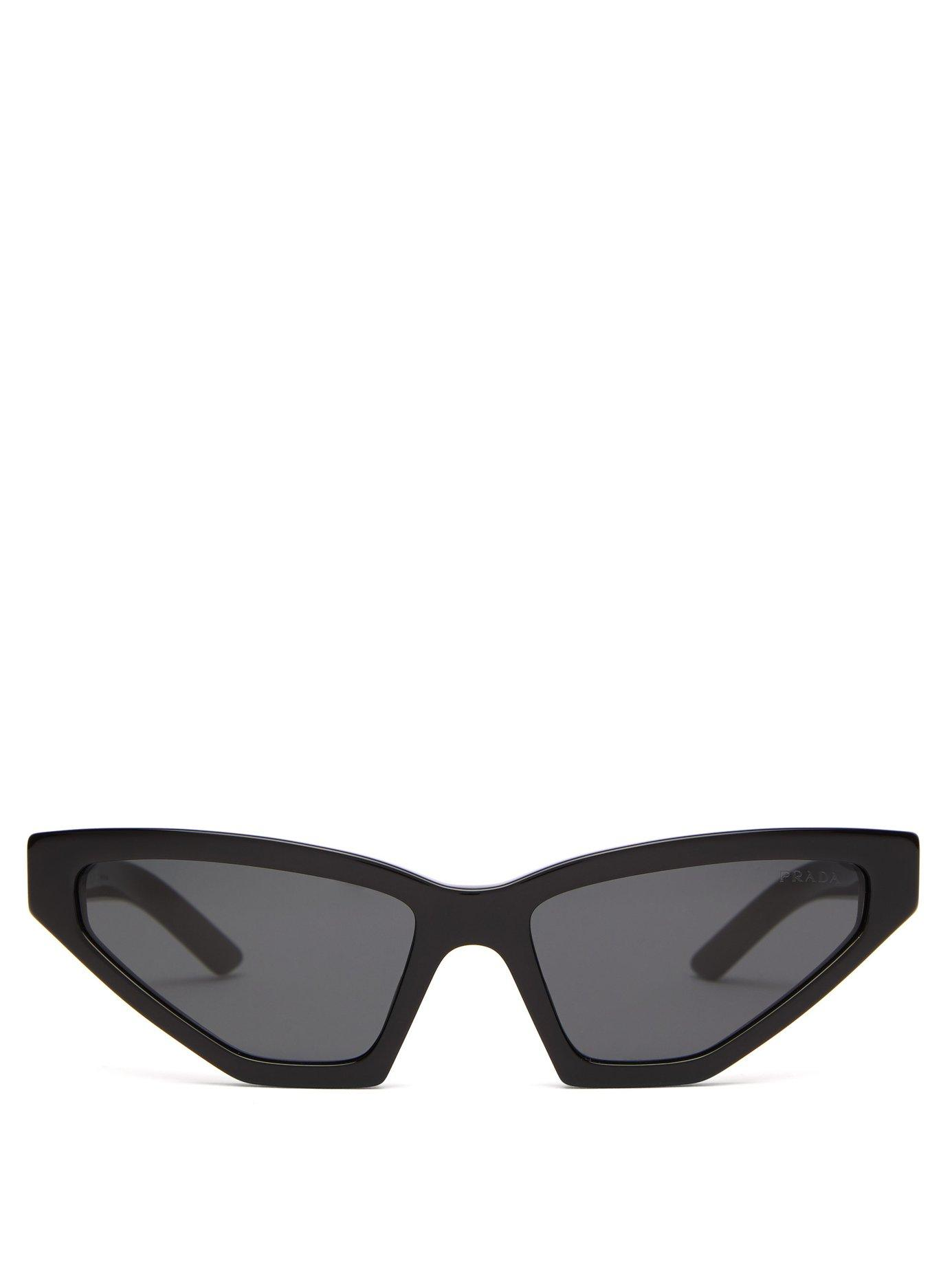 c59fb656491 Lyst - Prada Angular Cat Eye Acetate Sunglasses in Black