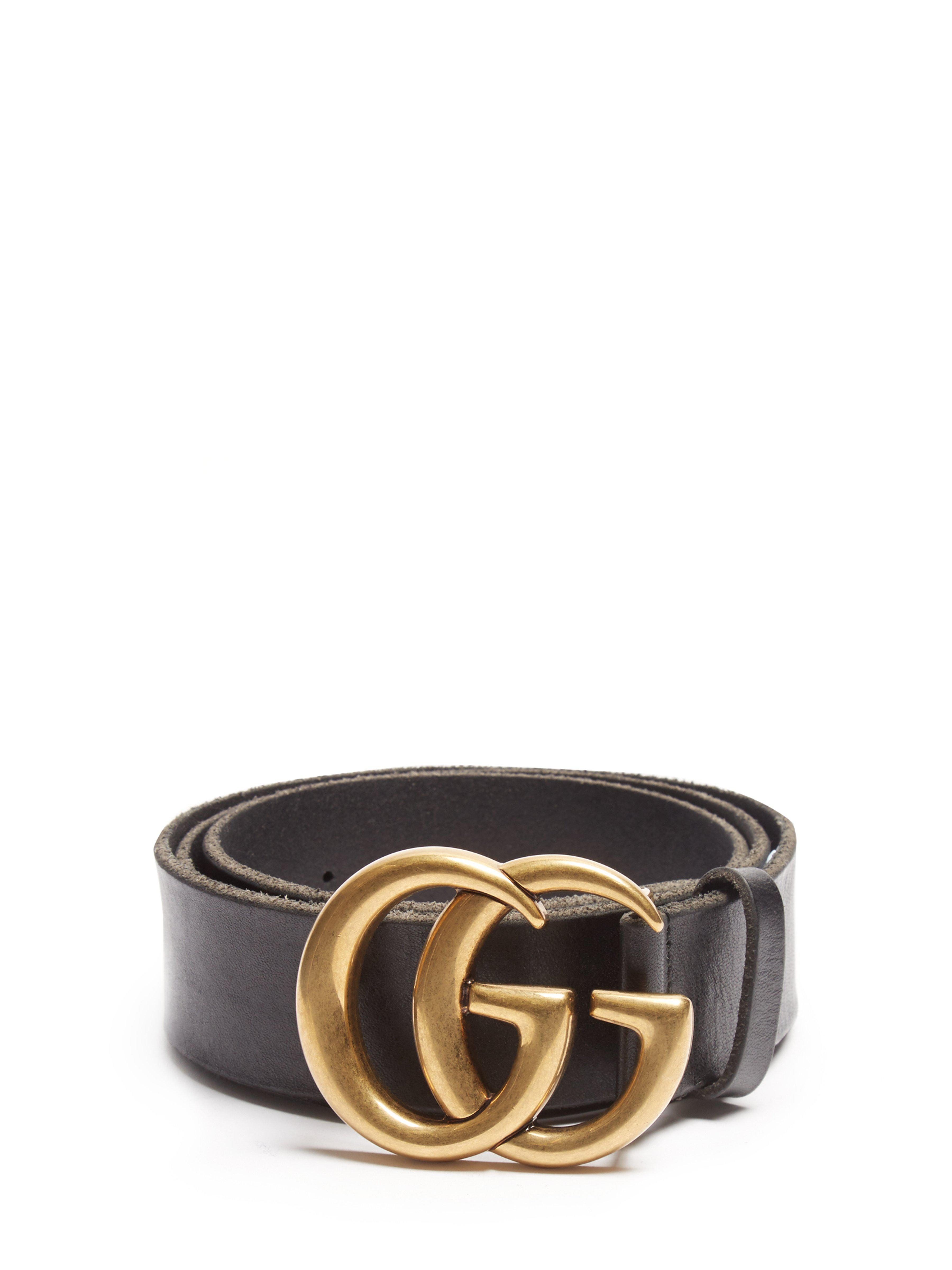 9f4c07905a2 Lyst - Ceinture en cuir GG Gucci pour homme en coloris Noir - 68 ...