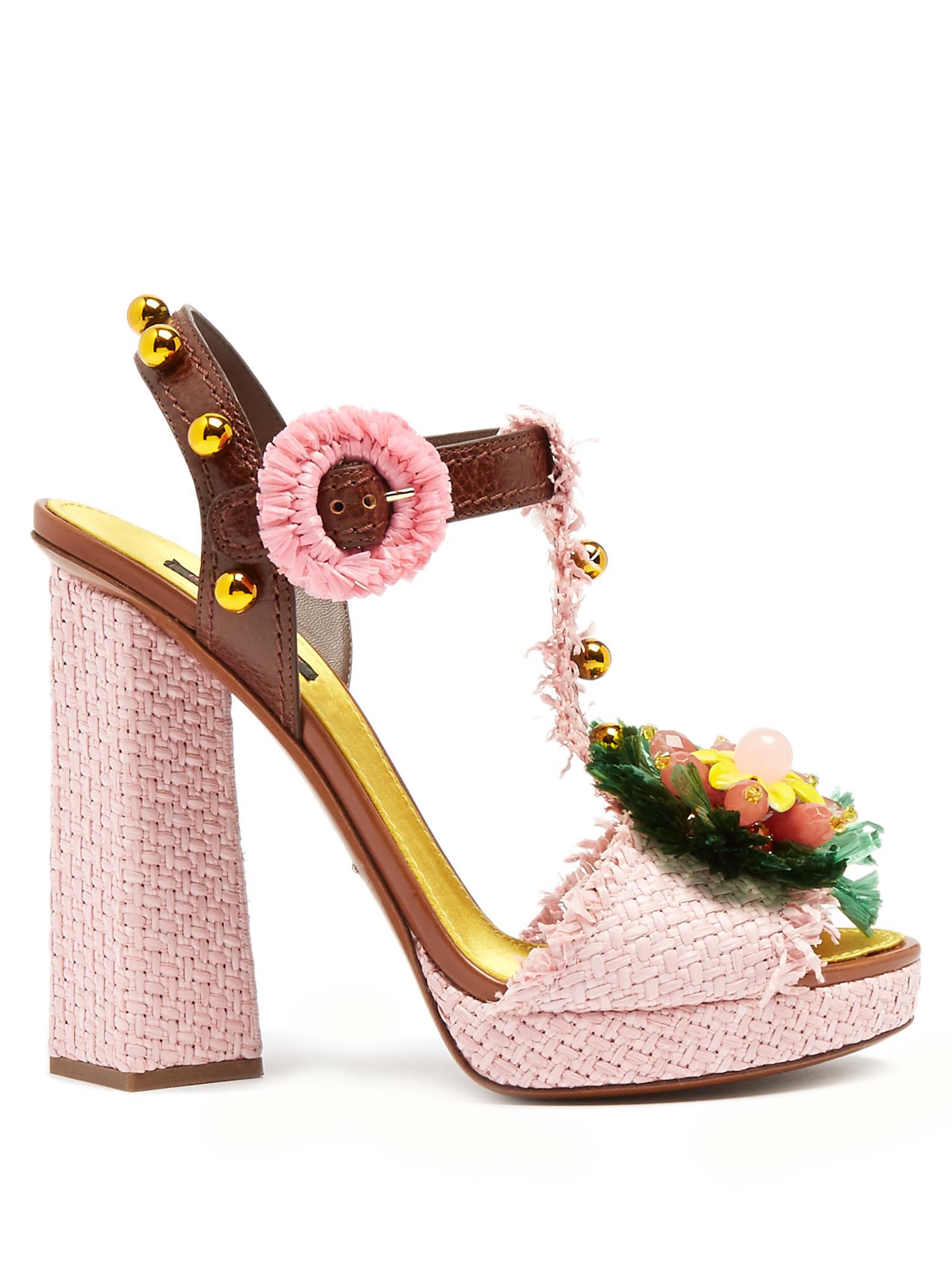 Dolce & Gabbana Woman Crystal-embellished Raffia Sandals Pink Size 40 Dolce & Gabbana IKBtyDOM4q