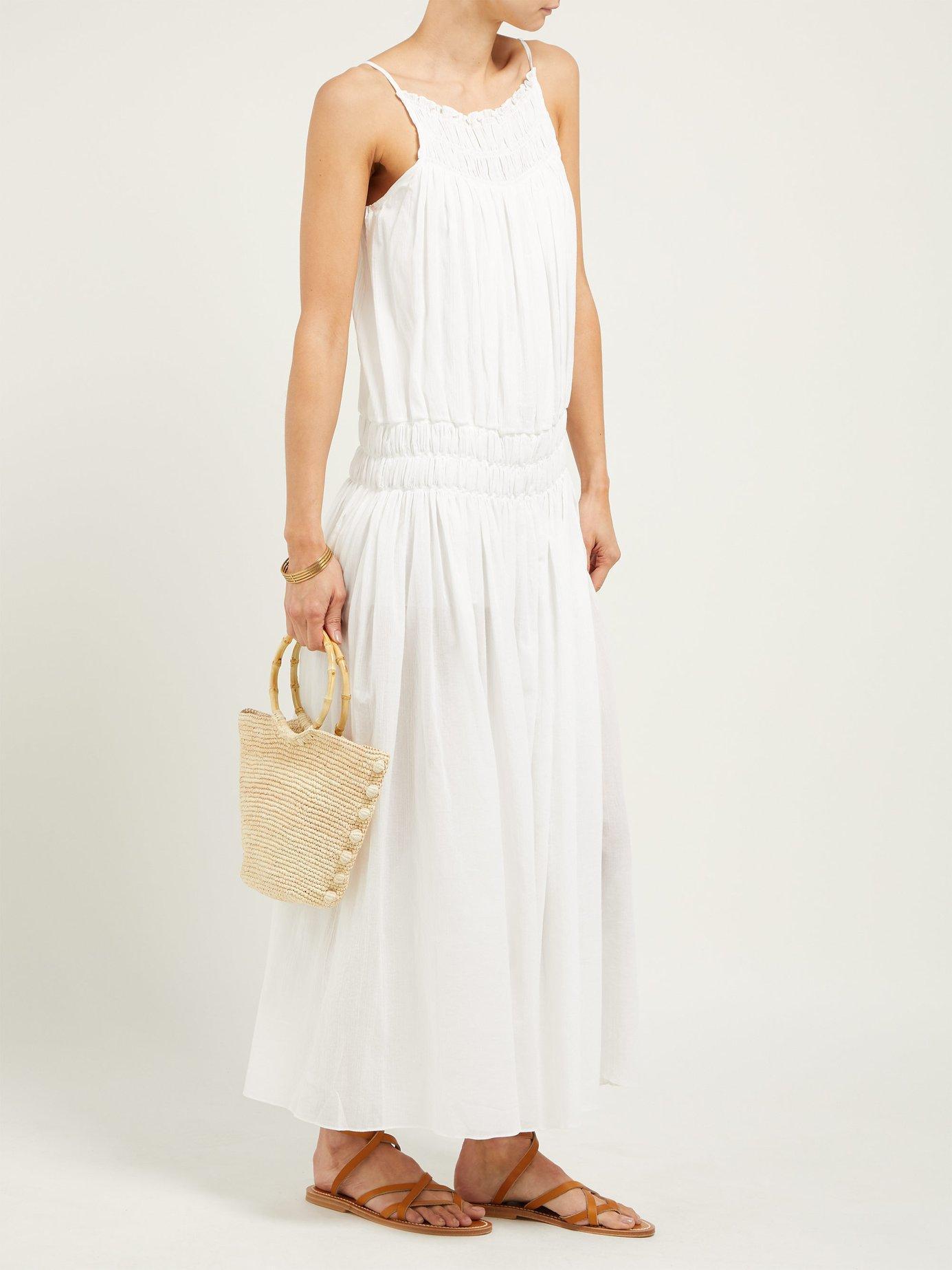 3d5cbb7adad Lyst - Three Graces London Gisella Dropped Waist Cotton Maxi Dress in White