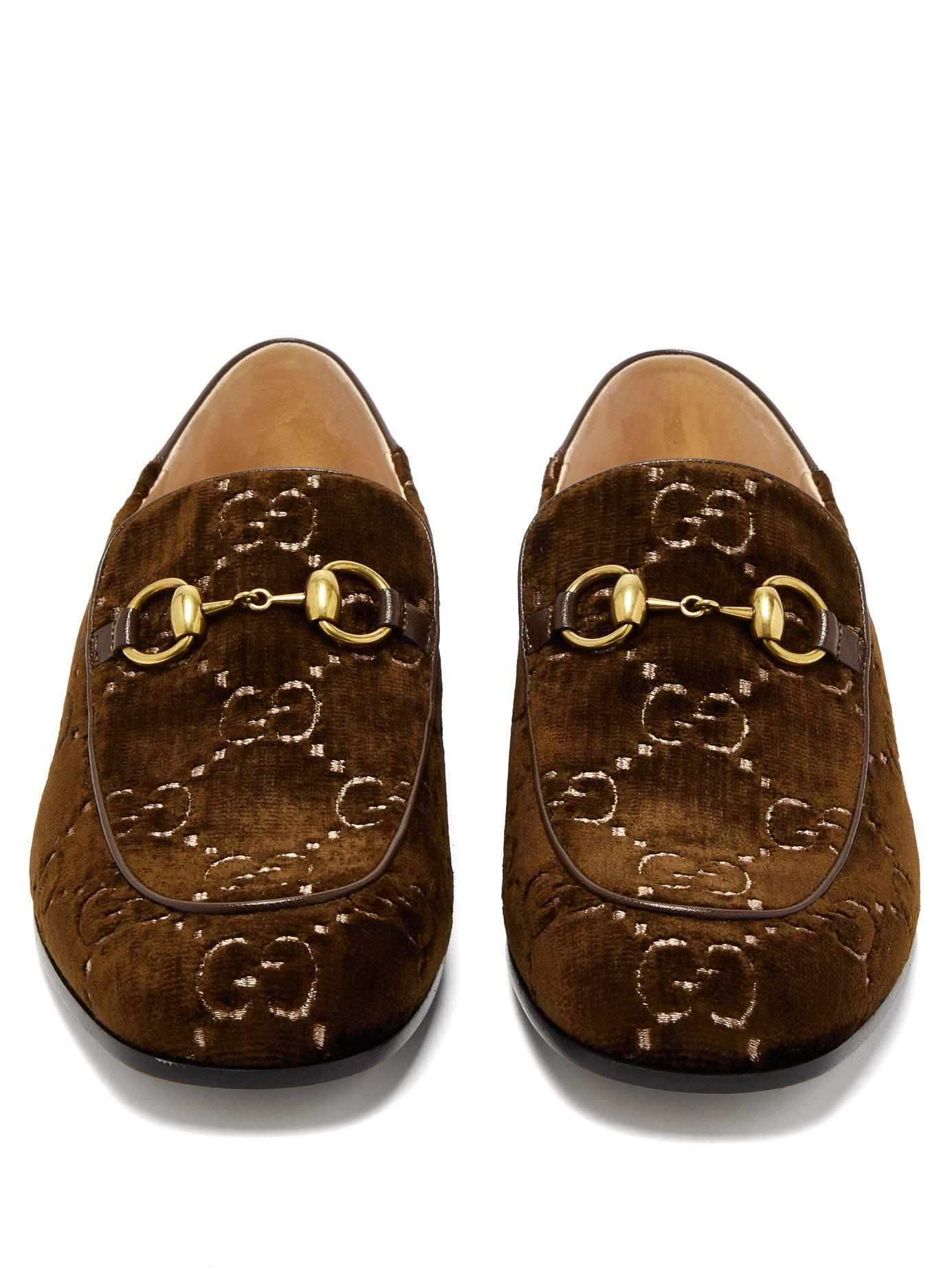 d53788895d5 Gucci - Brown Mister Gg Crystal Embellished Velvet Loafers - Lyst. View  fullscreen
