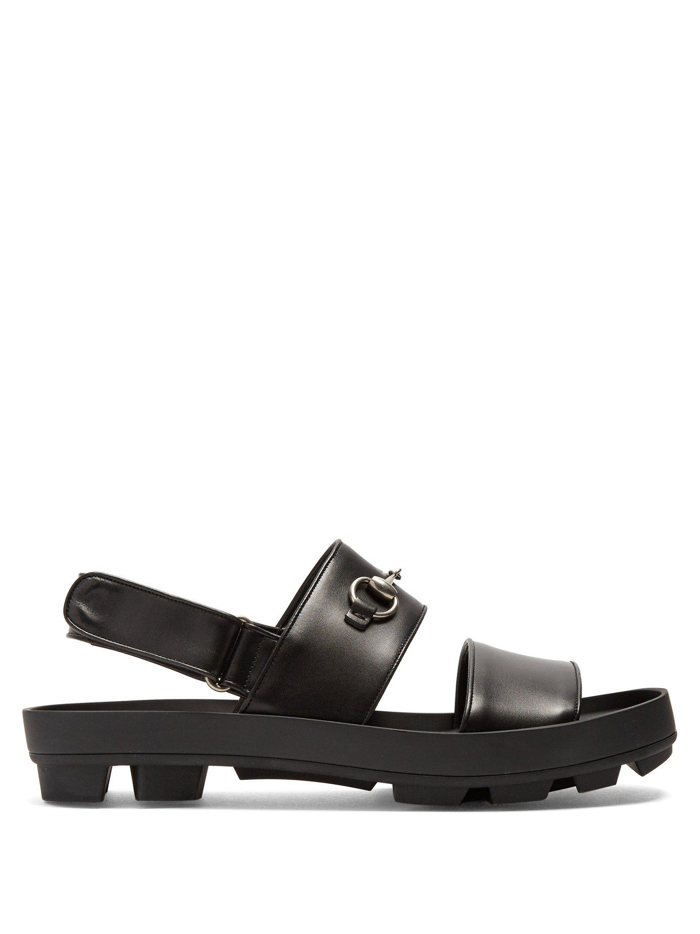 9a5c2e2429f Lyst - Gucci Sam Leather Sandals in Black for Men