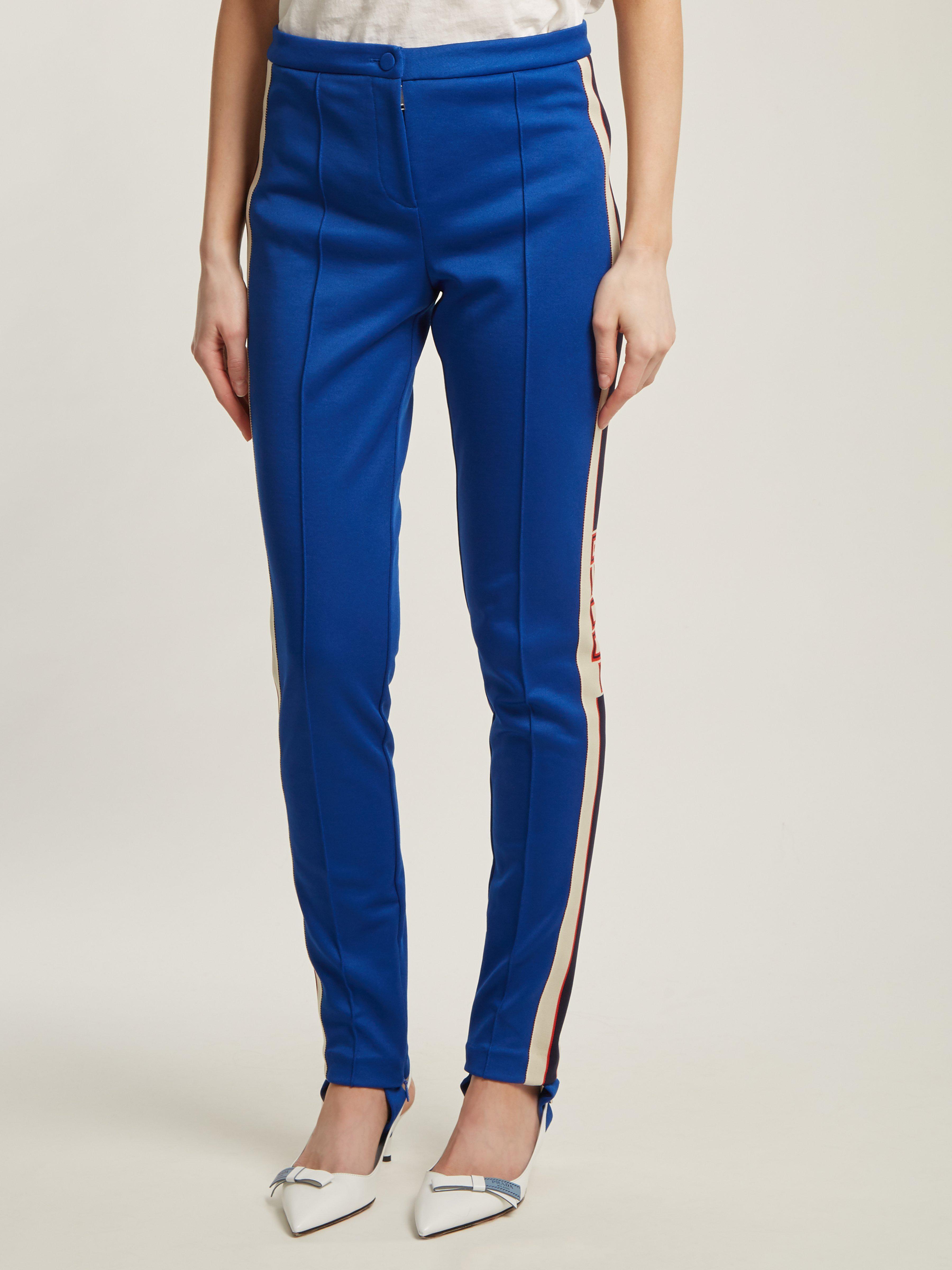 b7905e991bbe Gucci Contrast-stripe Stirrup-hem leggings in Blue - Lyst