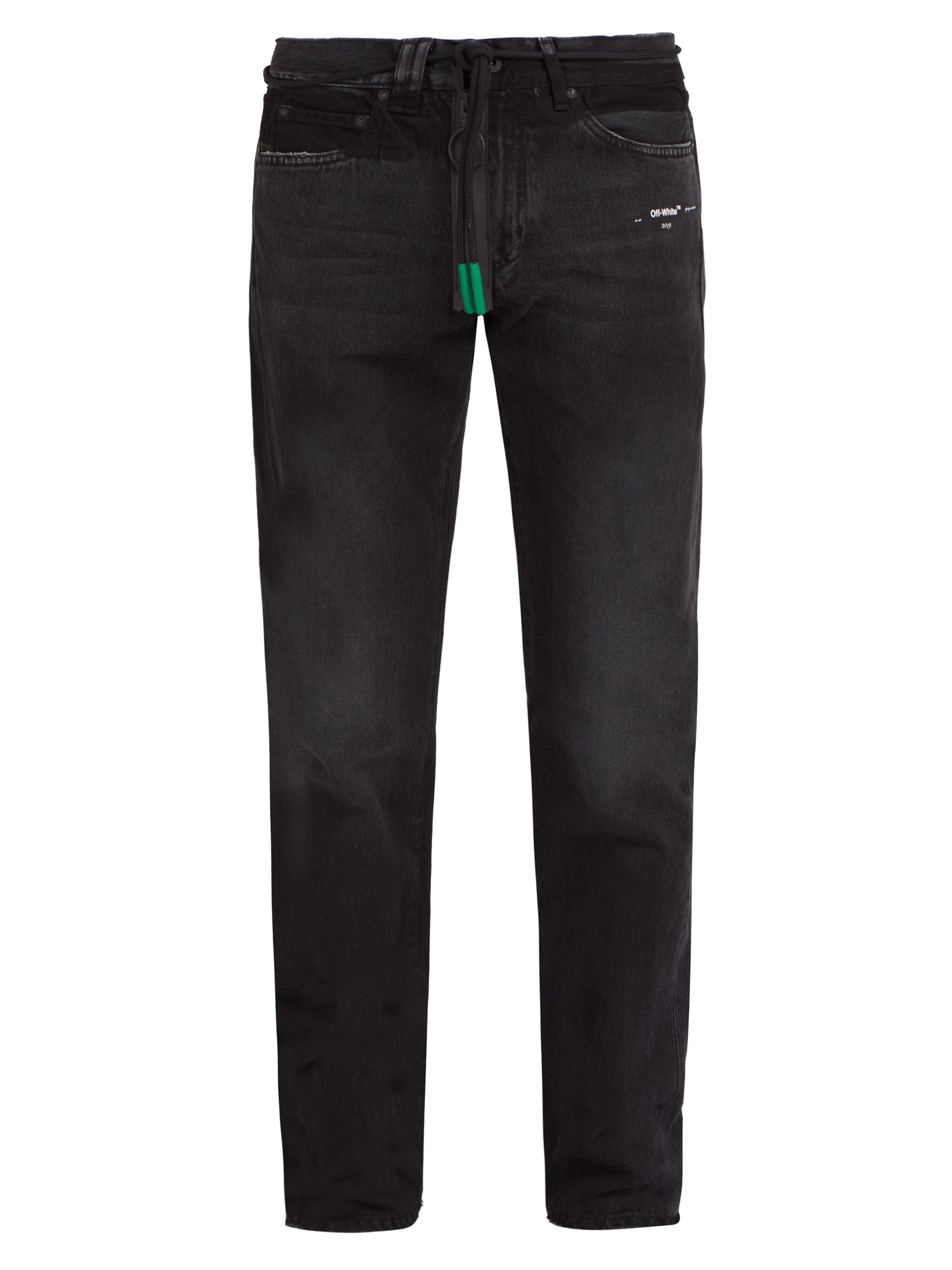 bf4c8b13f3f6 Off-White c o Virgil Abloh Logo Print Jeans in Black for Men - Lyst