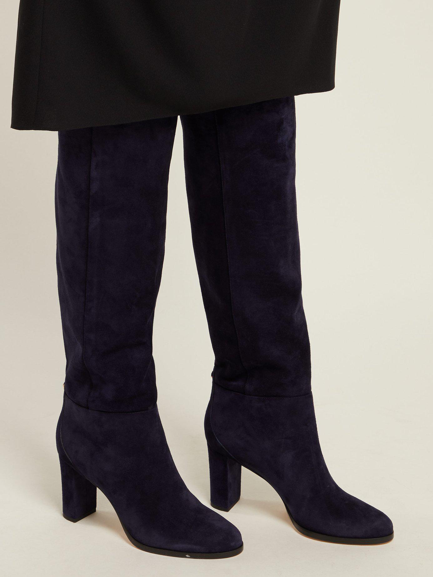 b2748368865 Jimmy Choo - Blue Madalie 80 Knee High Suede Boots - Lyst. View fullscreen