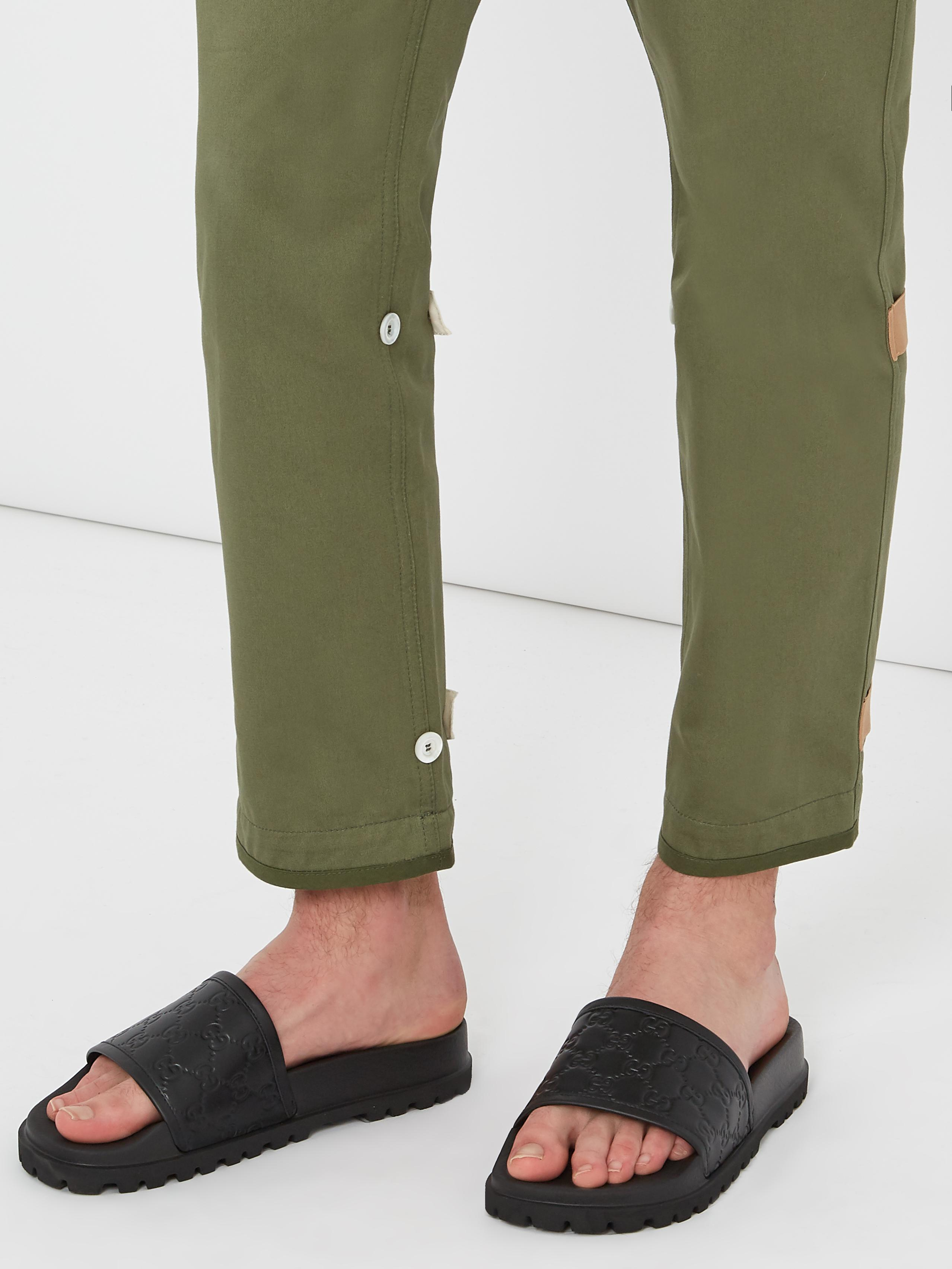b441d0afa Gucci Pursuit Track Leather Slides in Black for Men - Lyst