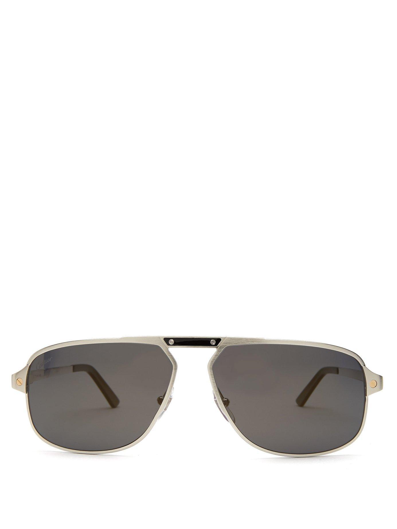 f0eb8535de Lyst - Cartier Santos De Cartier Aviator Sunglasses in Metallic for Men