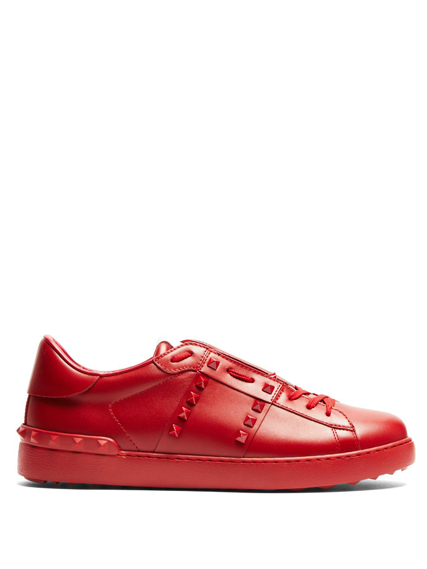 210a609354a2 Lyst - Valentino Shoes Leather Trainers Sneakers Rockstud in Red for ...