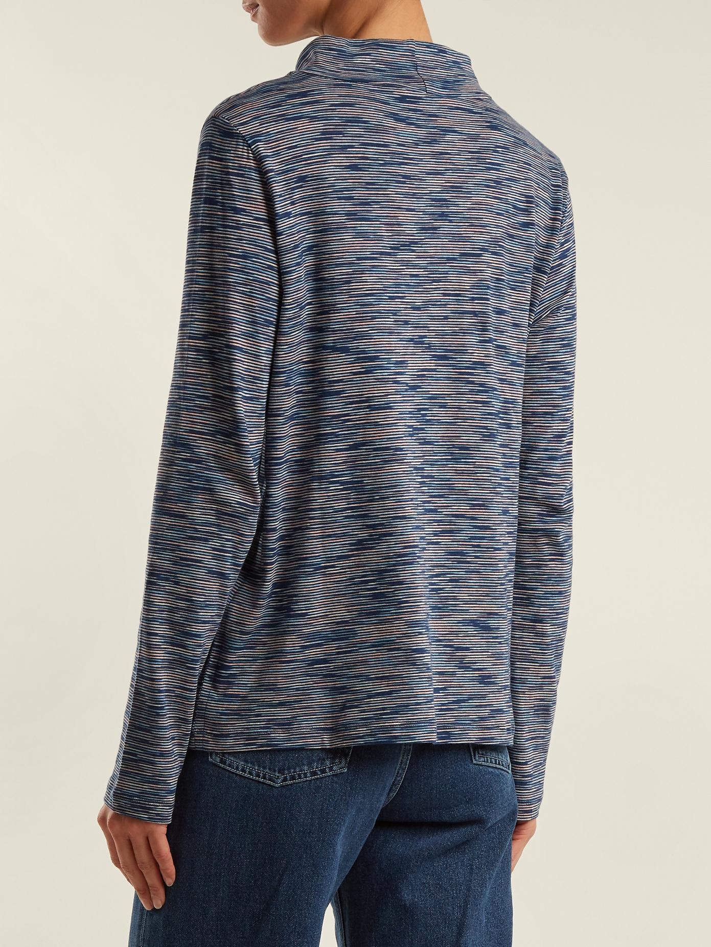 High-neck space-dye cotton-jersey top A.P.C. Buy Cheap Footlocker Finishline From China Free Shipping Low Price VS7ManzTb