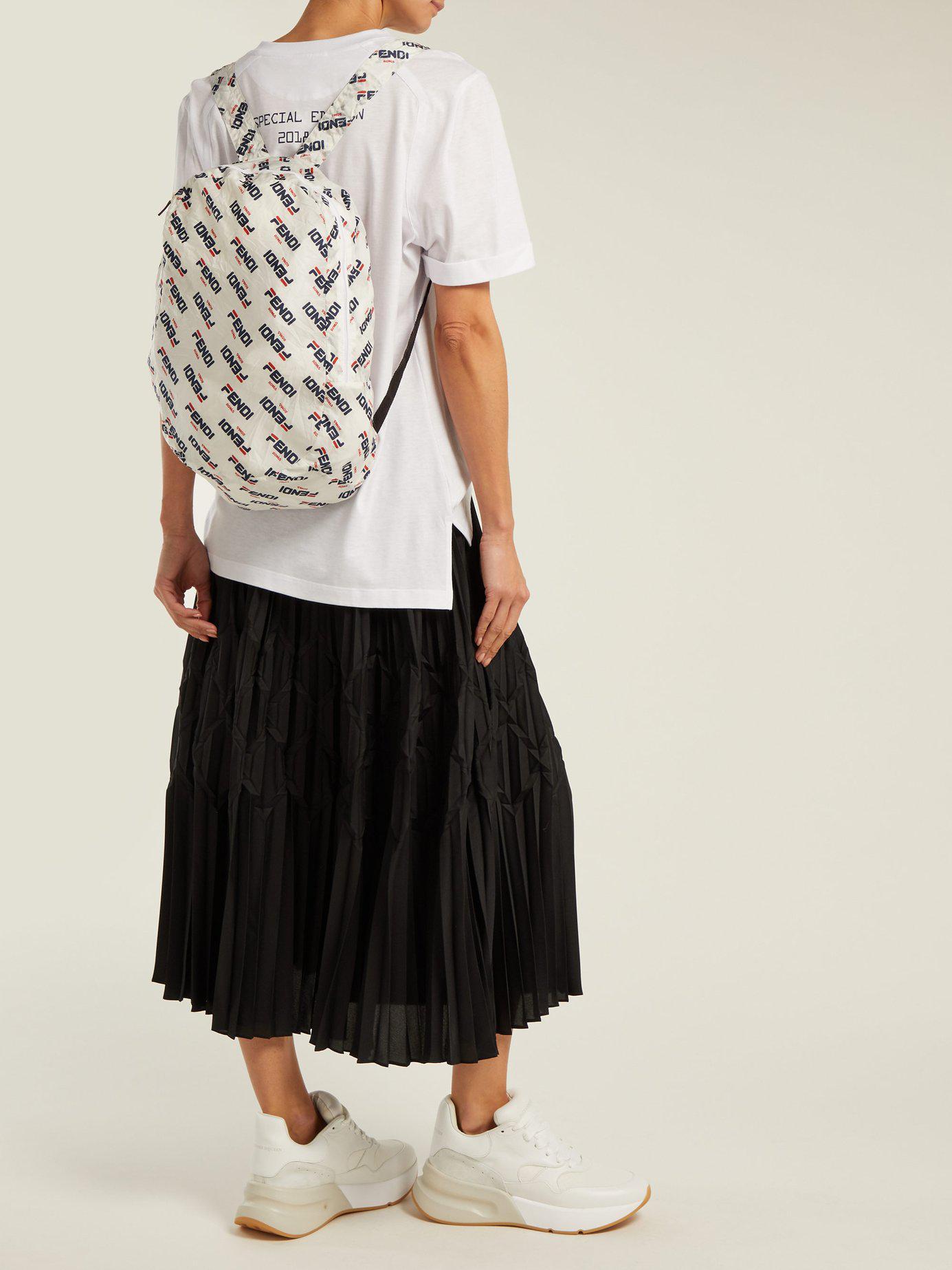 478a8efc2af Fendi - White Appliquéd Leather Bag Charm And Shell Backpack - Lyst. View  fullscreen